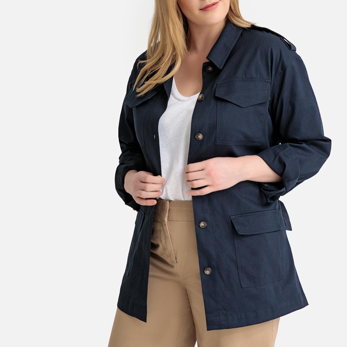Куртка La Redoute С поясом в стиле милитари 50 (FR) - 56 (RUS) синий