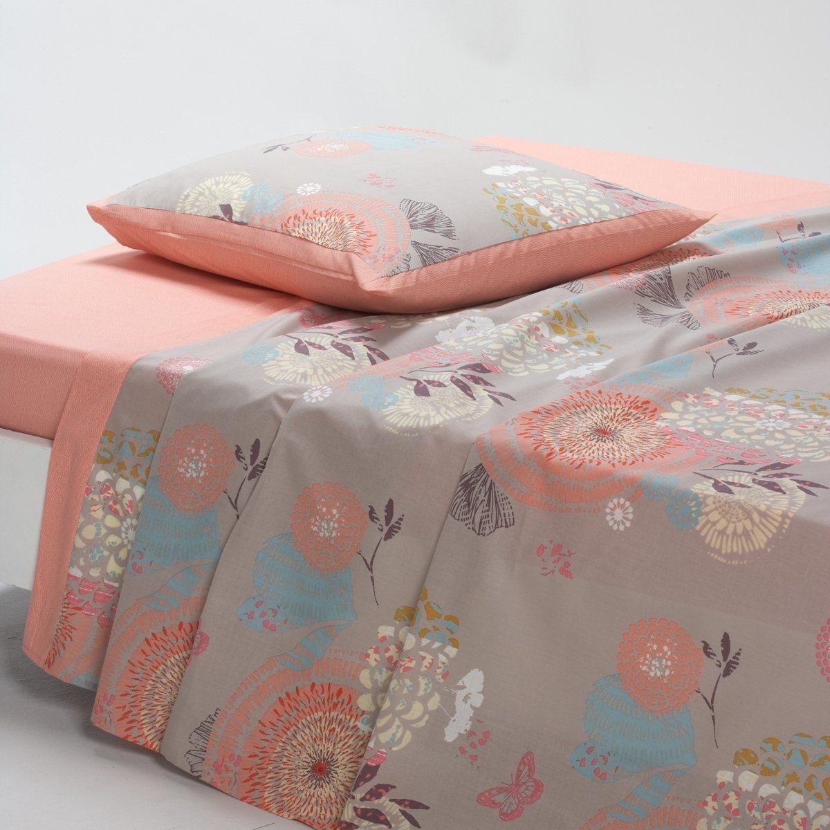 Простыня ЭлараКачество VALEUR S?RE за ткань с плотным переплетением нитей (57 нитей/см?). Крупные стилизованные цветы и мелкий рисунок в японском стиле. 100% хлопка. Стирка при 60°. Размеры:  180 x 290 см: 1-сп. 240 x 290 см: 2-сп. 270 x 290 см: 2-сп.<br><br>Цвет: принт/бежевый