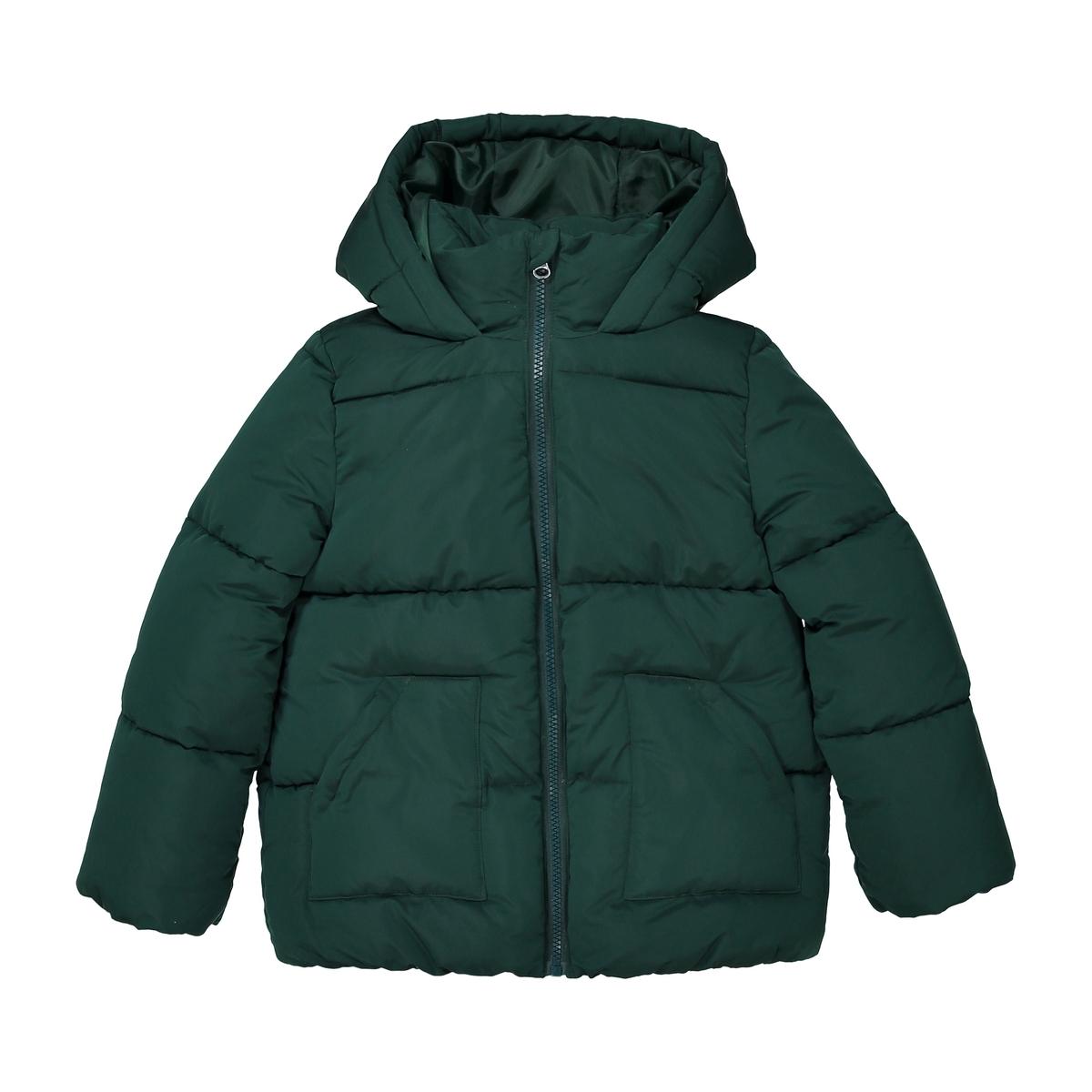 Куртка La Redoute Стеганая теплая длинная с капюшоном 3 года - 94 см зеленый