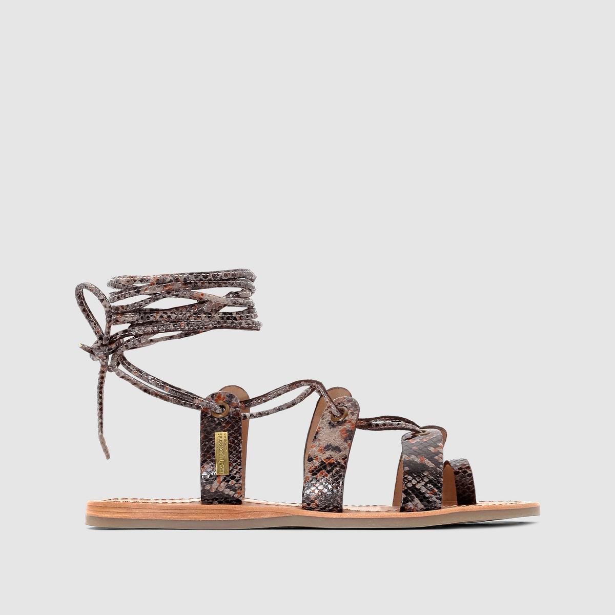 Сандалии из кожи Bird, со шнуровкой на щиколотке и плоской подошвой3 широких ремешка сверху, шнуровка, деликатно оплетающая лодыжку, кожа высокого качества под рептилию ... Вы будете выглядеть естественно и сексуально этим летом !<br><br>Цвет: каштановый/ящерица<br>Размер: 37