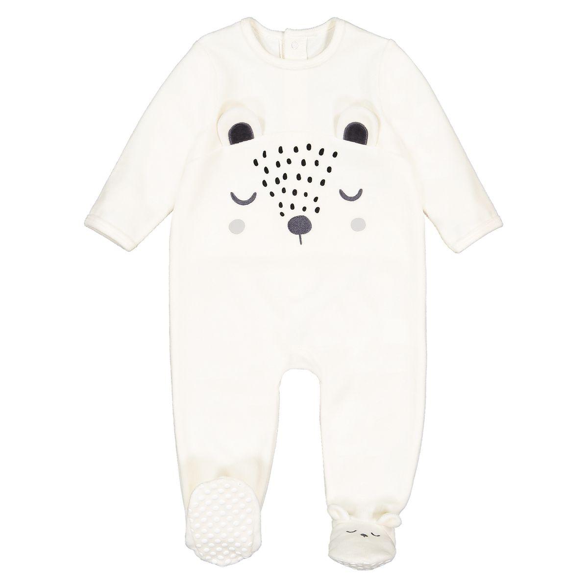 Pyjama à pieds 1 pièce en velours 0 mois-3 ans