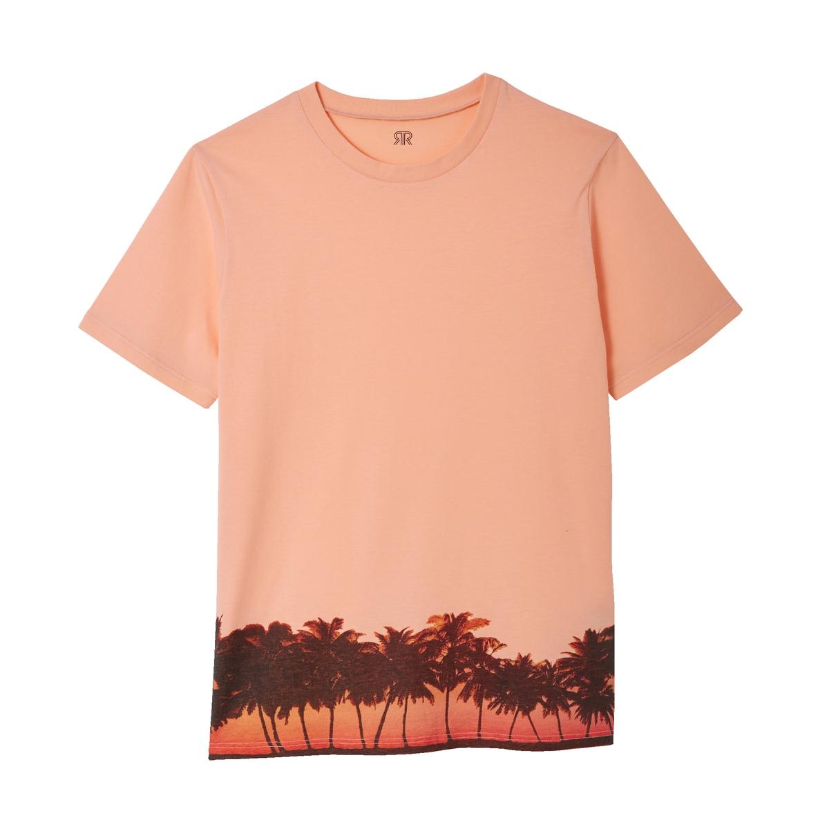 T-shirt de gola redonda, estampada, Slub