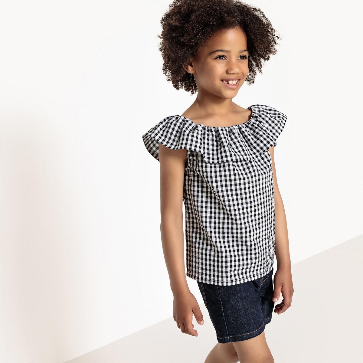 Блузка с вырезом-лодочкой в клетку 3-12 ans шорты с 3 12 ans