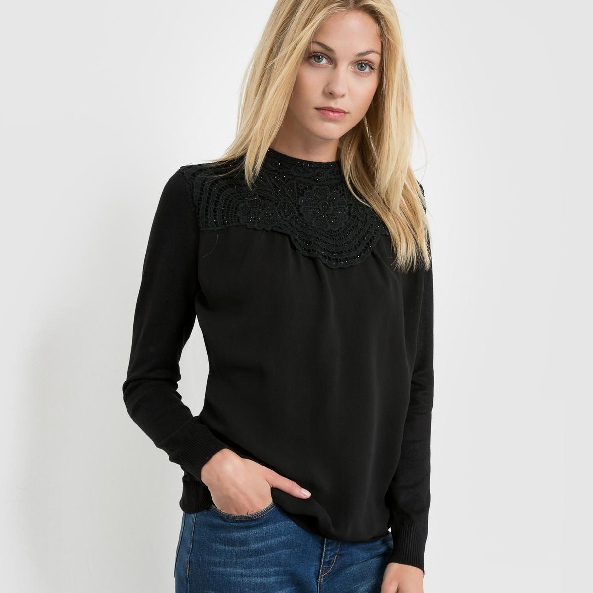 Пуловер с ажурной вязкой и вуалью пуловер с круглым вырезом и вышивкой molly bracken