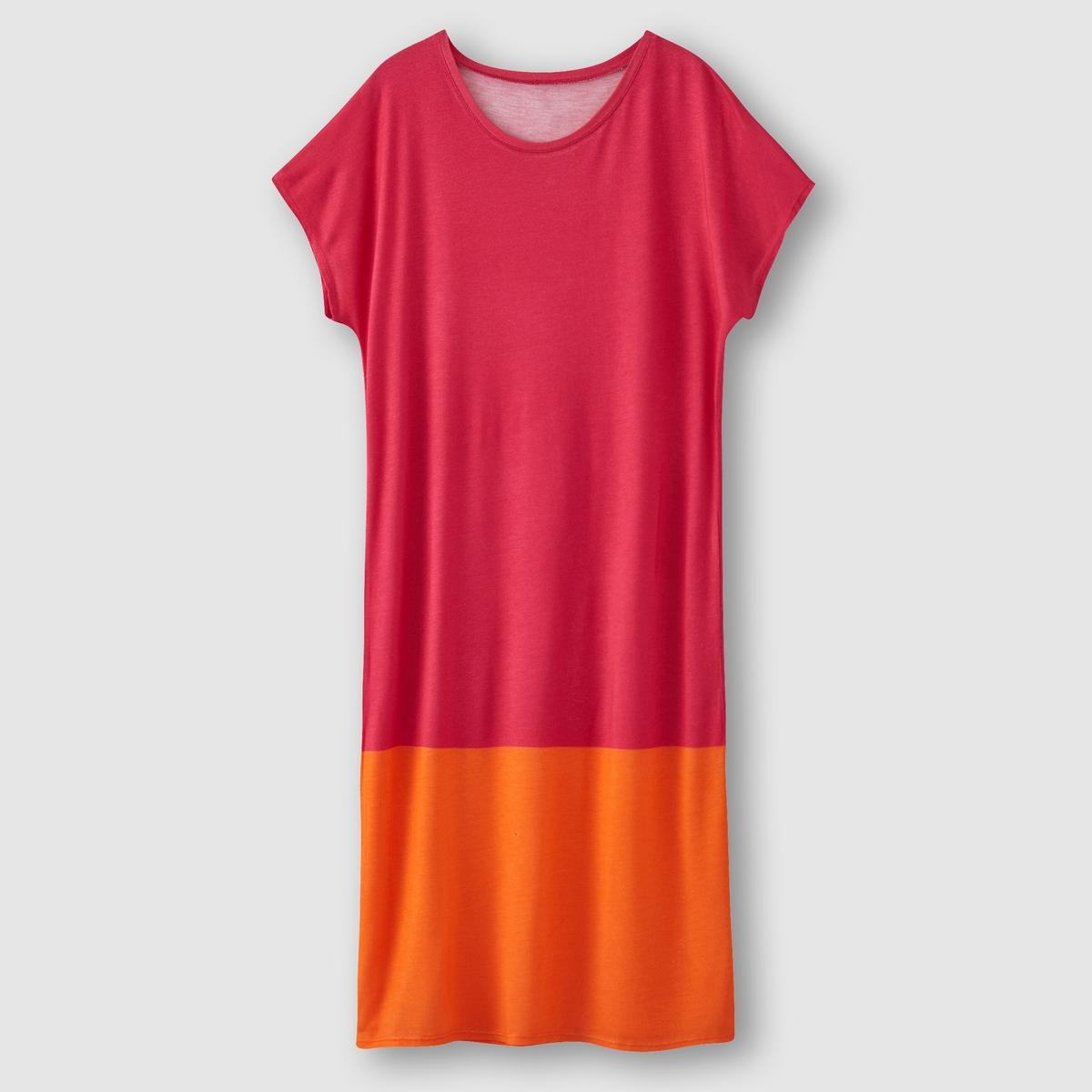 Платье с короткими рукавами R essentielПлатье с короткими рукавами R essentiel. Двухцветный эффект. Круглый вырез. Отделка лентой контрастного цвета снизу                  Состав и описание:  Материал: вискоза.  Марка: R essentiel.<br><br>Цвет: розовый<br>Размер: 38/40 (FR) - 44/46 (RUS)