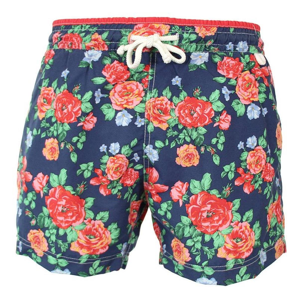 Maillot Short de bain homme New Jim Fashion flower bleu et rouge