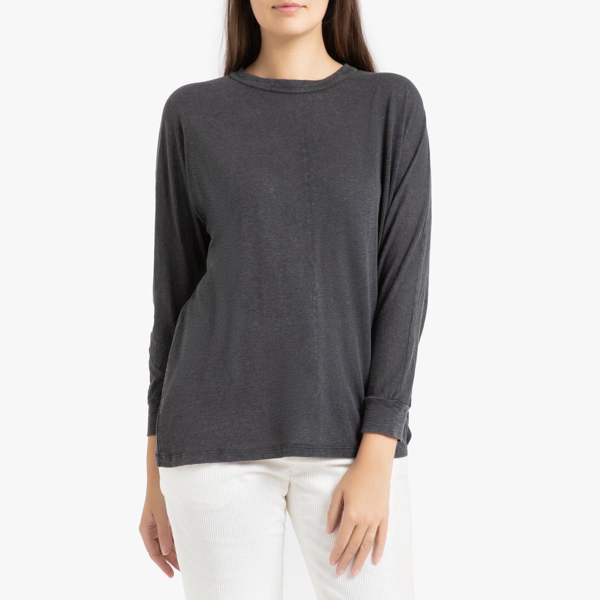 Футболка La Redoute С круглым вырезом и длинными рукавами KOBIBAY M/L серый футболка женская oodji ultra цвет серый 14707001 7 46154 23a0z размер m 46