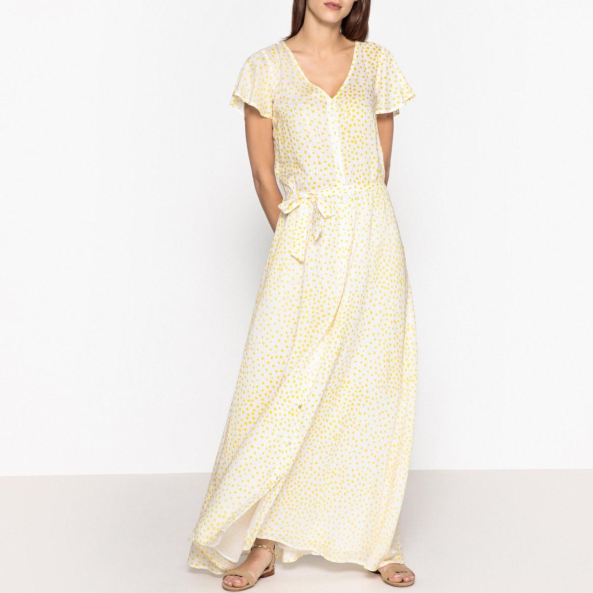Платье на пуговицах с короткими рукавами SUNLIGHTОписание:Платье длинное с короткими рукавами BLUNE - модель SUNLIGHT. Застежка на пуговицы с завязкой на поясе, расклешенный покрой из ткани с принтом  .Детали •  Форма : расклешенная •  Длина ниже колен •  Короткие рукава    •   V-образный вырез •  Рисунок в горошекСостав и уход •  99% вискозы, 1% металлизированных волокон •  Следуйте советам по уходу, указанным на этикетке<br><br>Цвет: желтый
