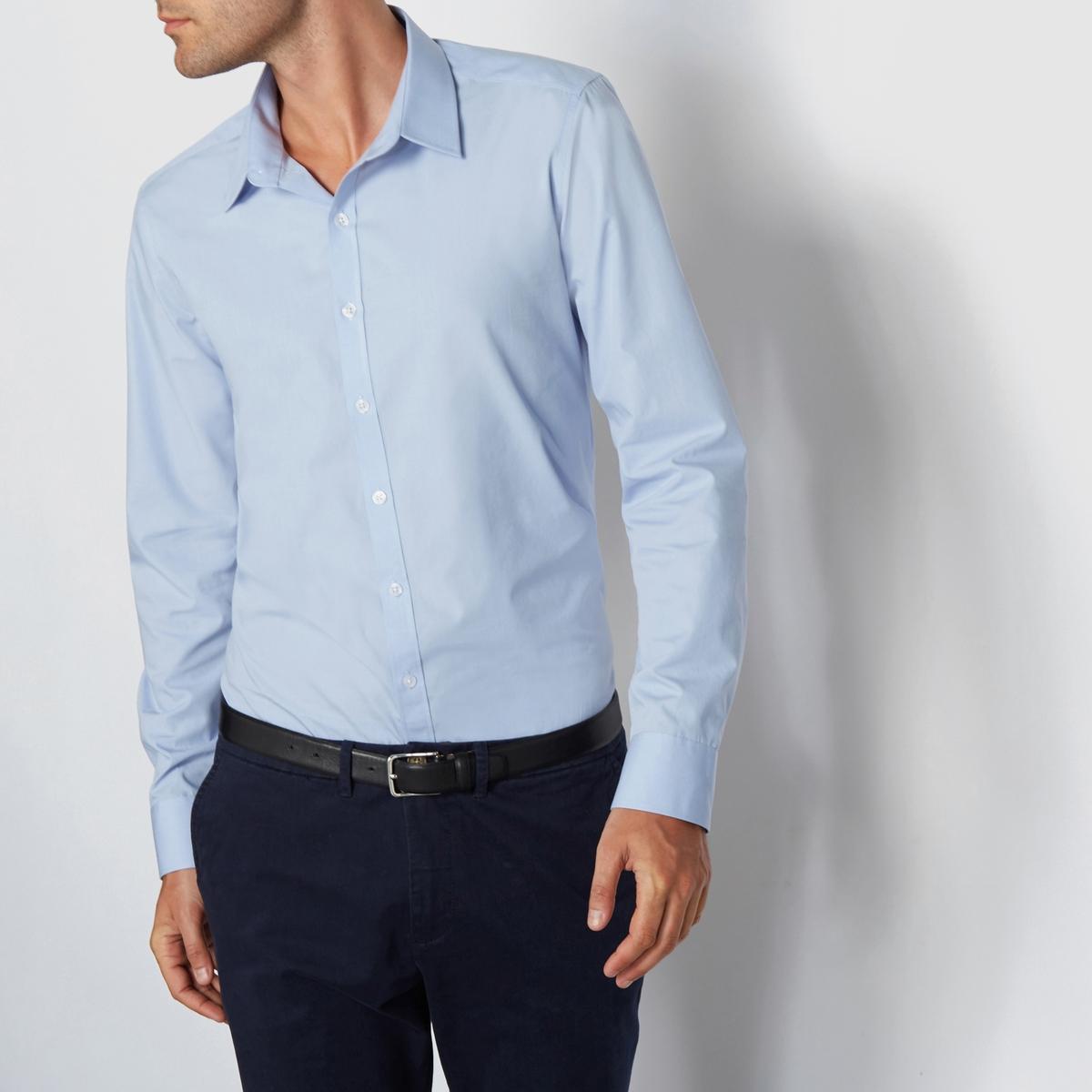 Рубашка однотонная узкого покроя