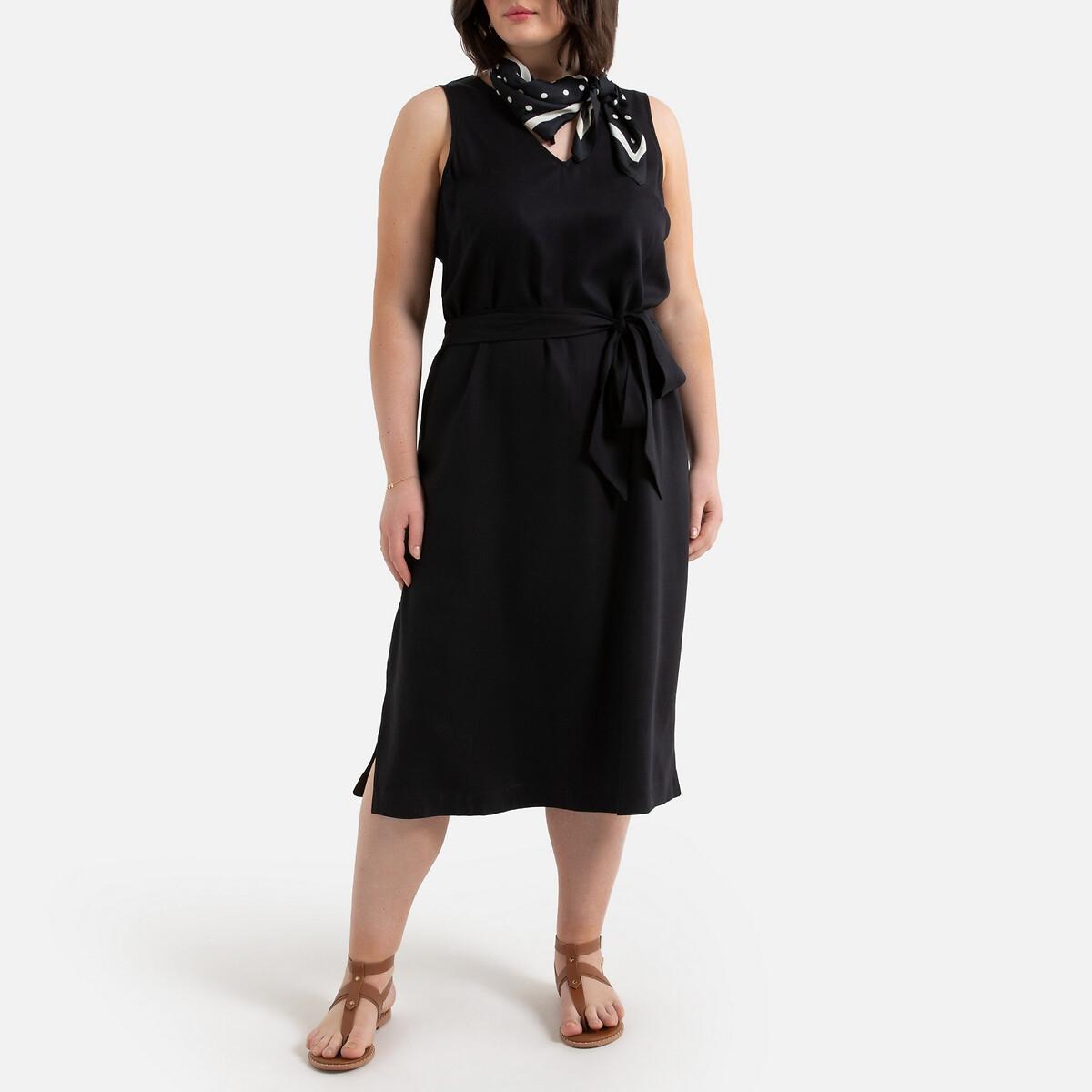 Платье La Redoute Длинное прямое из лиоцелла без рукавов 52 (FR) - 58 (RUS) черный