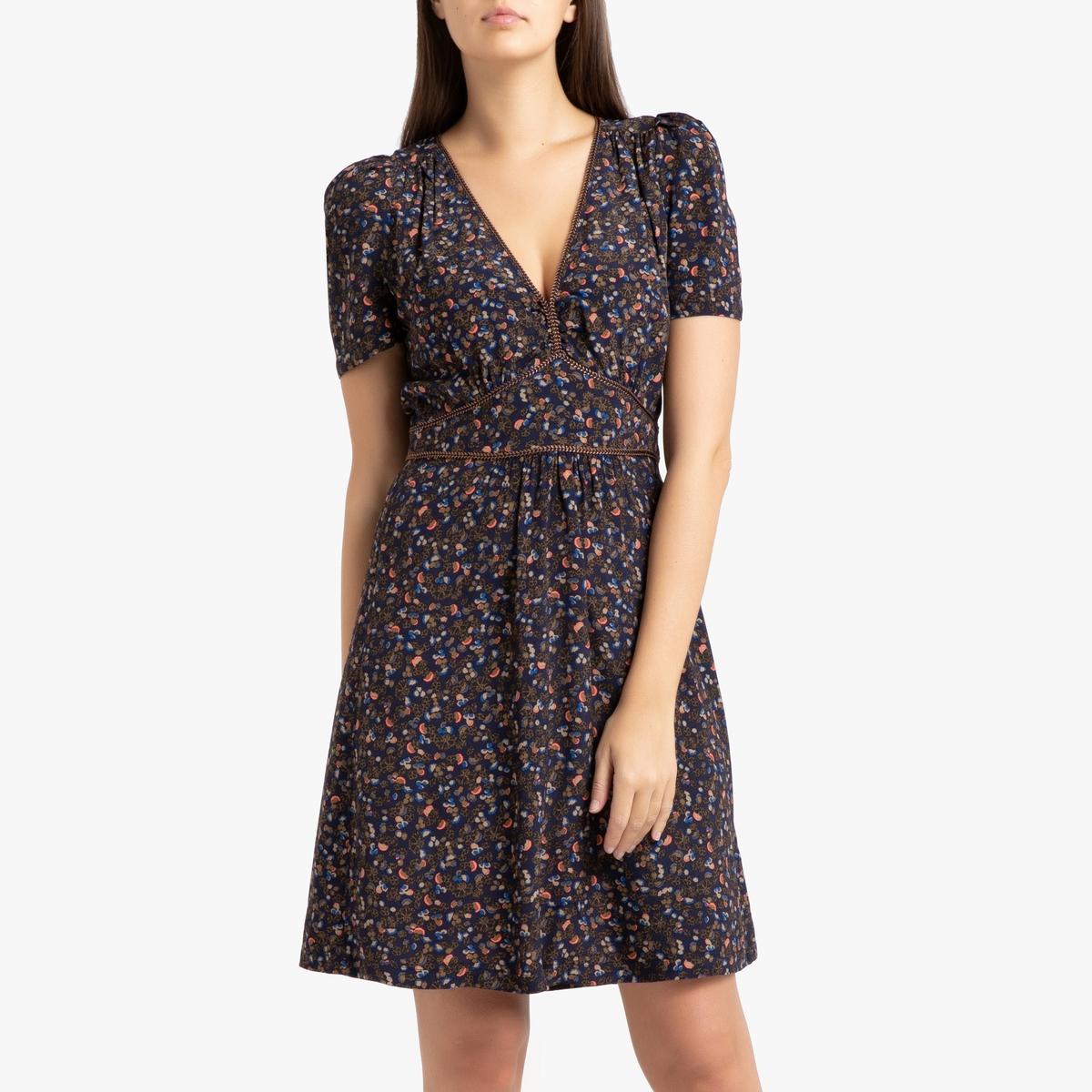 Платье La Redoute Короткое с короткими рукавами JIMAMA S синий