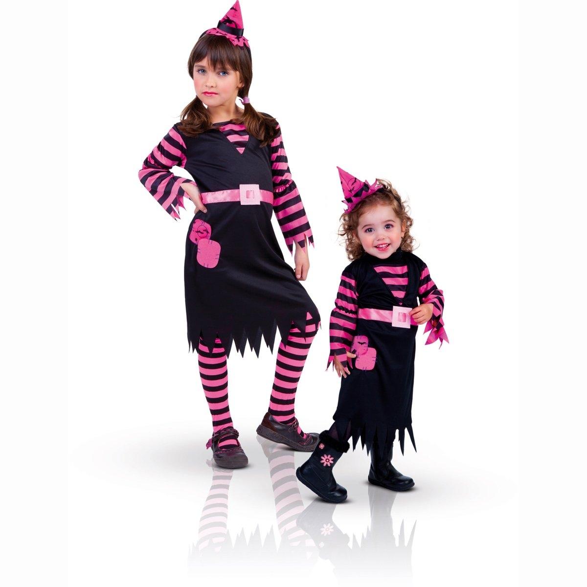 Маскарадный костюм ведьмыМаскарадный костюм ведьмы. Платье ведьмы чёрно-розового цвета и ободок в виде шляпки. 100% полиэстера.S: соответствует на 3-4 года. M: соответствует на 5-6 лет. L: соответствует на  7-8 лет<br><br>Цвет: набивной рисунок<br>Размер: M.L