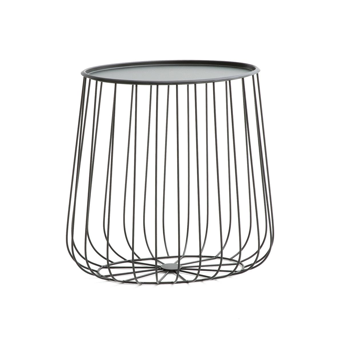 Стол диванный овальной формы из металической проволоки, CageСтол диванный овальной формы Cage . Воздушный и изысканный дизайн в поэтическом и современном стиле, не сильно изменяющий декор в интерьере . Сочетается с круглым столиком Cage и журнальным столиком Cage, продающимися на нашем сайте .Характеристики :- Из металлической проволоки черного цвета .- Съемная столешница из металла .Размер :- L41 x H40,5 x P28 см, 1,49 кг - Столешница L21,5 x P35,5 см .Размеры и вес ящика :- L46 x H48 x P34 см, 3,7 кг<br><br>Цвет: черный