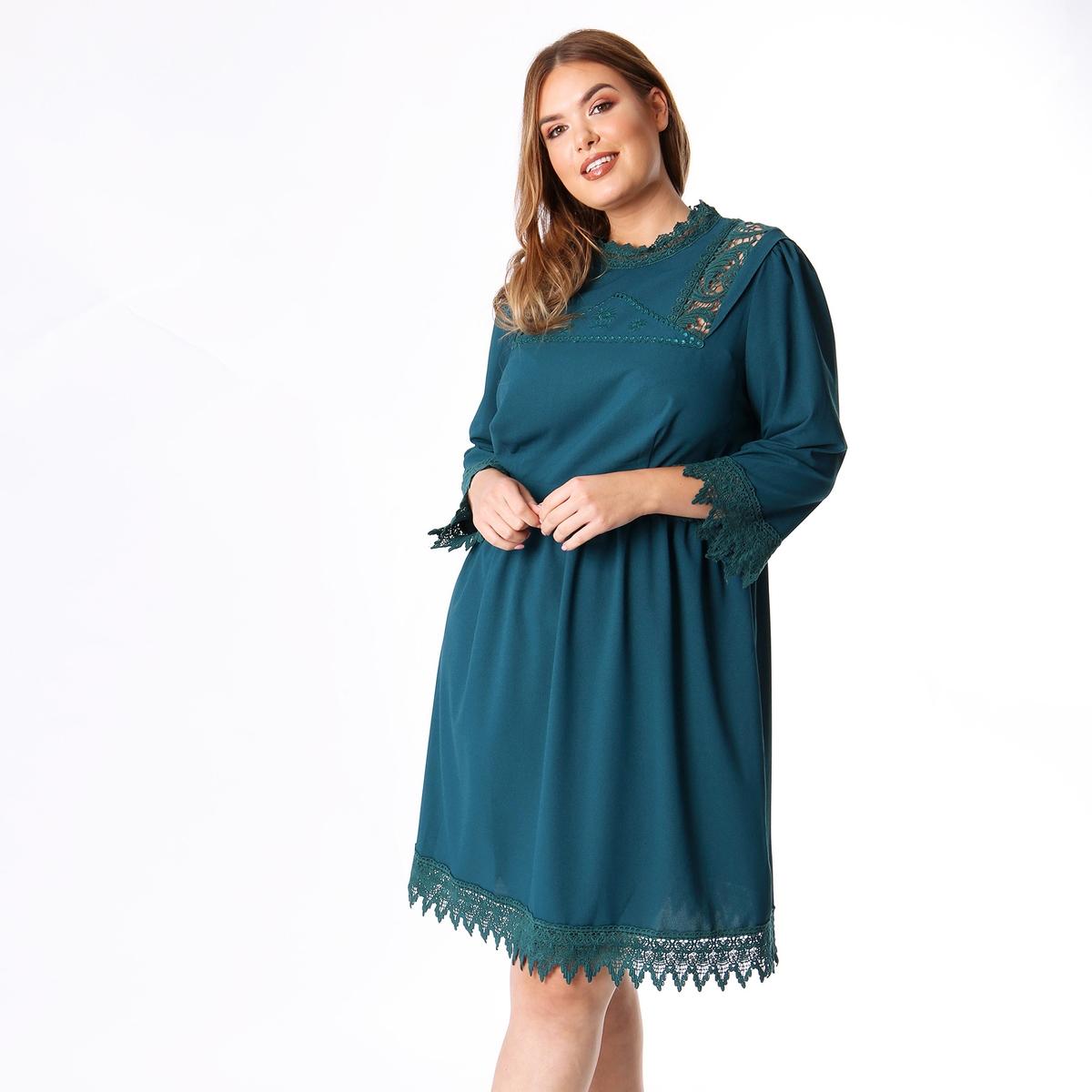 Платье La Redoute Расклешенное средней длины со вставками макраме 46 (FR) - 52 (RUS) зеленый