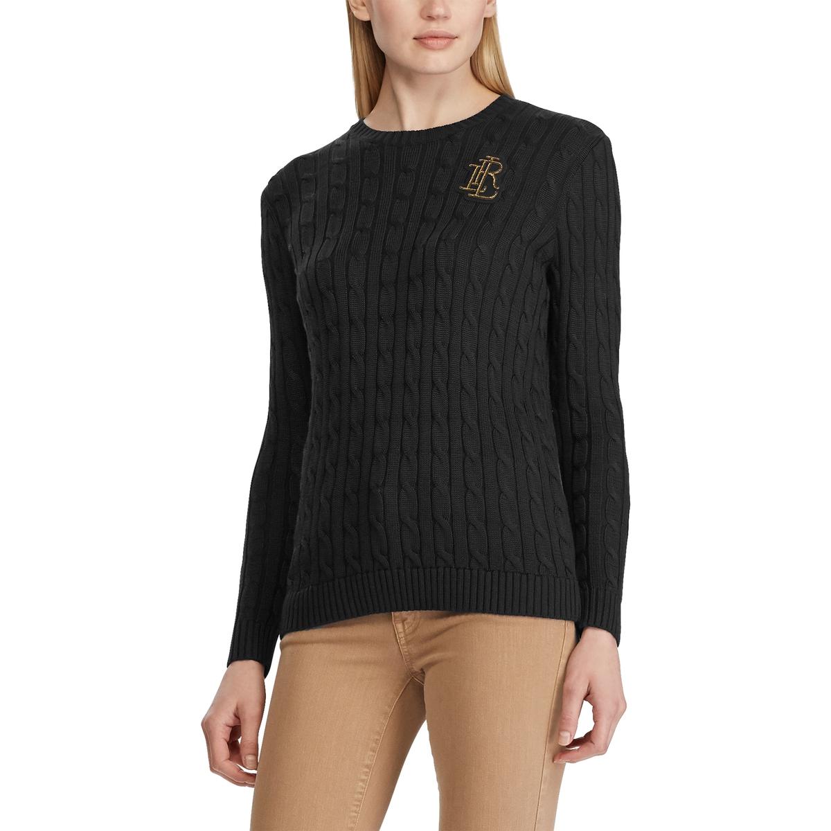 Пуловер La Redoute С круглым вырезом из витого трикотажа M черный свитшот la redoute с круглым вырезом и вышивкой s черный