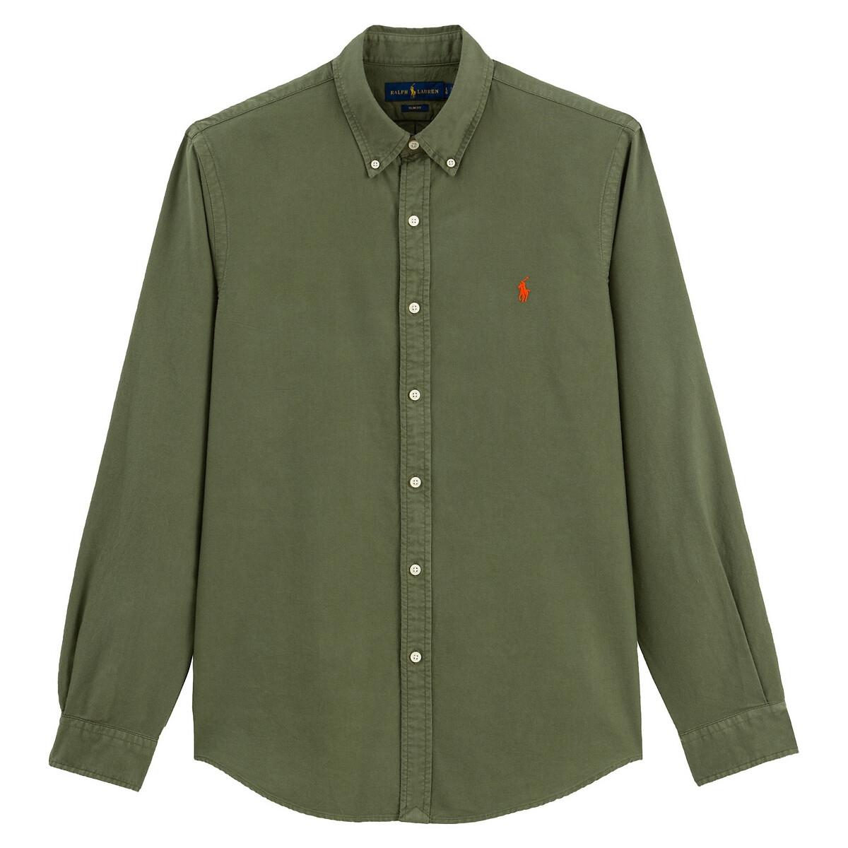 Рубашка La Redoute Узкого покроя из ткани оксфорд XL зеленый рубашка la redoute из ткани оксфорд 16 лет 162 см синий