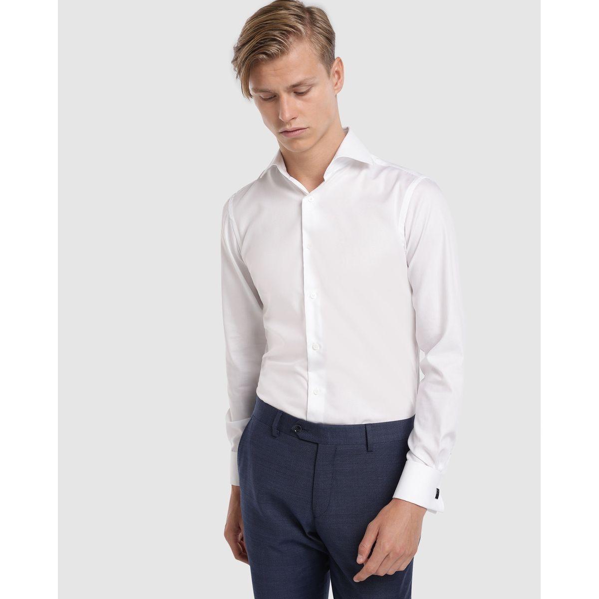 Chemise habillée regular repassage facile unie bleu