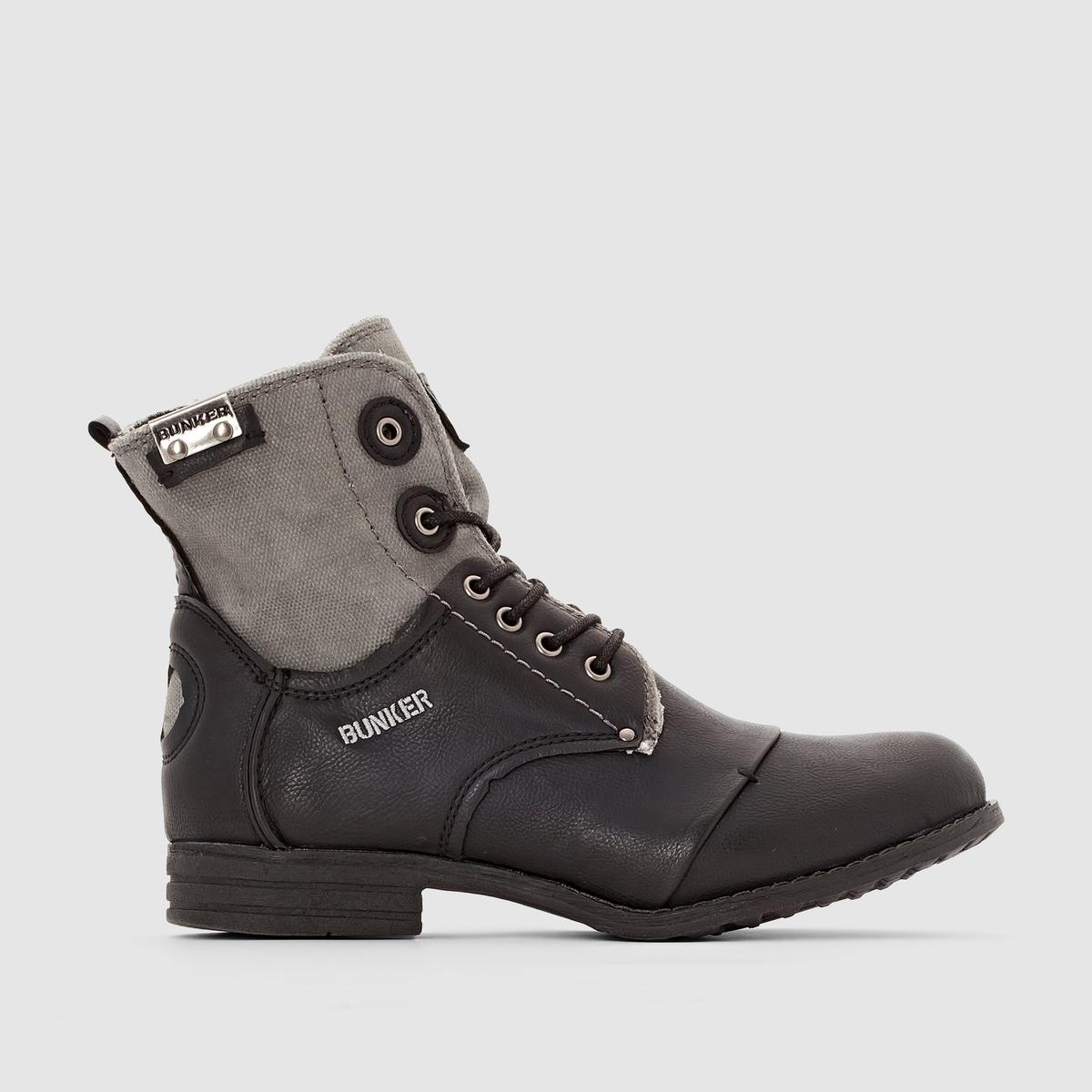 Сапоги SARA от BUNKERСапоги на шнуровке SARA от BUNKER. Верх: синтетика.Подкладка: текстиль.Стелька: кожа.Подошва: эластомер.Застежка: на шнуровке.Высота каблука: 2,5 см.Высота верха: 15 см. Сапоги Bunker с превосходным сочетанием материалов и стильными деталями: добавим оригинальности в наш стиль!<br><br>Цвет: черный<br>Размер: 40
