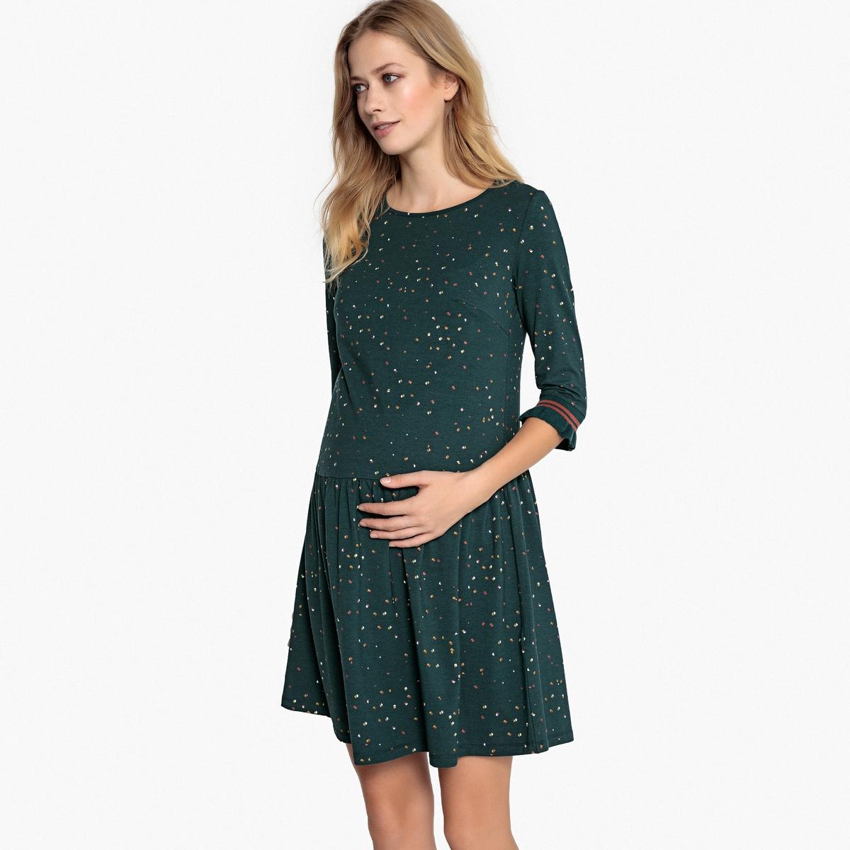 Платье La Redoute С рисунком и рукавами до локтей для периода беременности L другие платье la redoute из трикотажа для периода беременности s другие