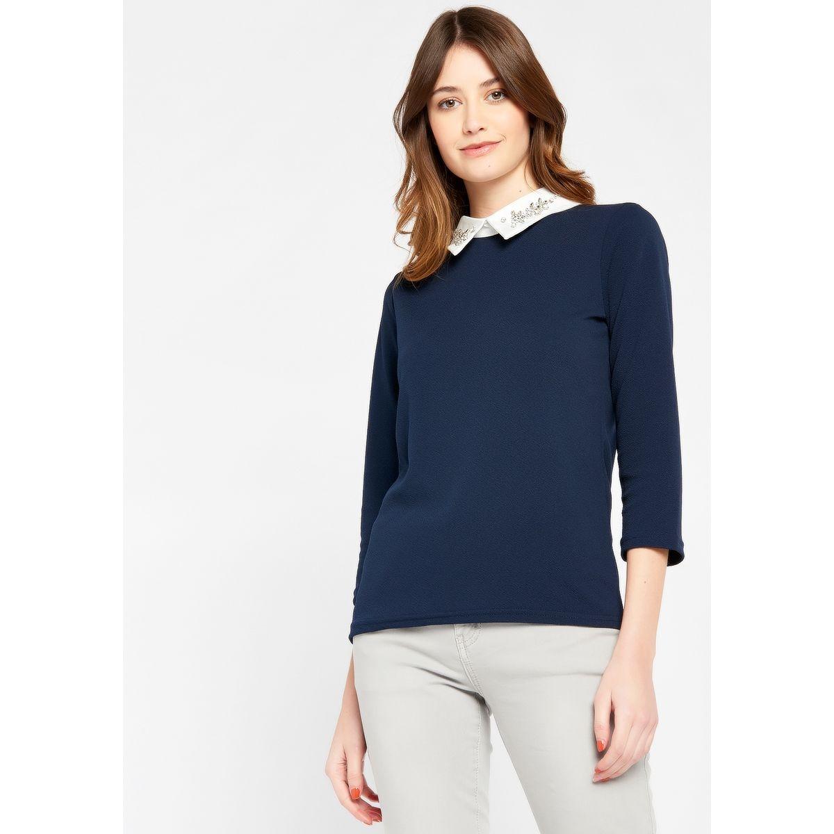 T-shirt avec col chemise à strass