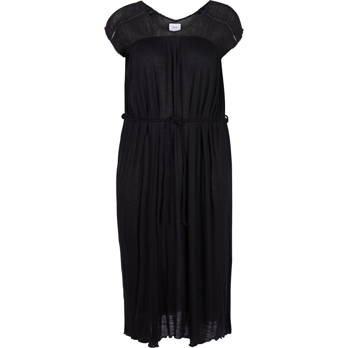 Платье длины миди, 3/4, рукава короткиеДетали   •  Форма : прямая  •  Длина миди, 3/4  •  Короткие рукава    •   V-образный вырезСостав и уход   •  100% вискоза  •  Следуйте советам по уходу, указанным на этикеткеТовар из коллекции больших размеров<br><br>Цвет: черный<br>Размер: 46/48 (FR) - 52/54 (RUS)