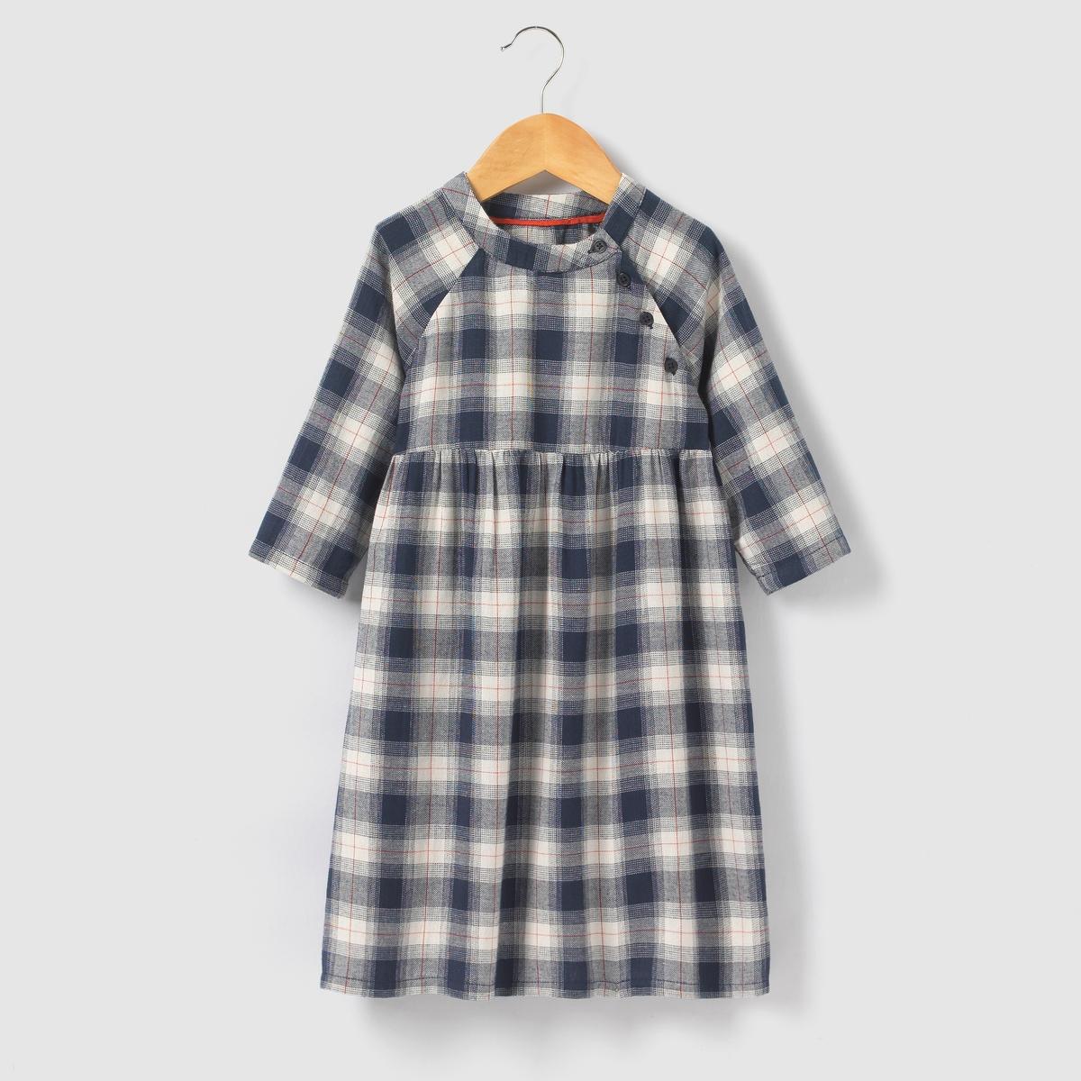 Платье в клетку с рукавами 3/4, 3-12 лет от La Redoute Collections