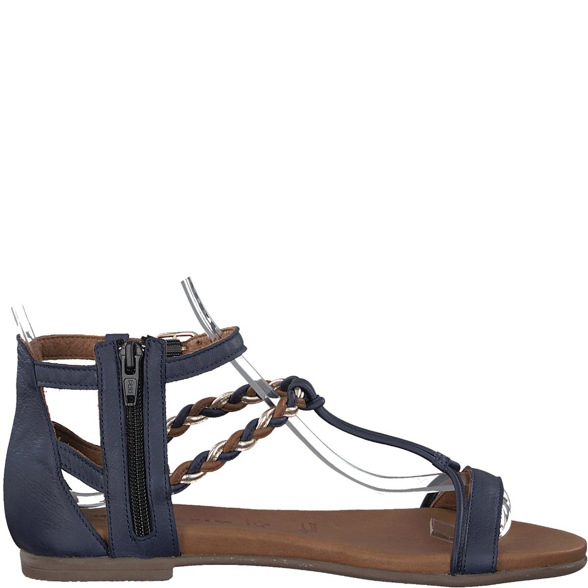 Сандалии кожаные KimОписание:Детали •  Плоский каблук •  Высота каблука : 1 см •  Застежка : ремешок/пряжка •  Открытый мысокСостав и уход •  Верх/Голенище : 100% кожа •  Подкладка : 100% кожа •  Стелька : 100% кожа •  Подошва : 100% синтетический материал<br><br>Цвет: синий морской<br>Размер: 39
