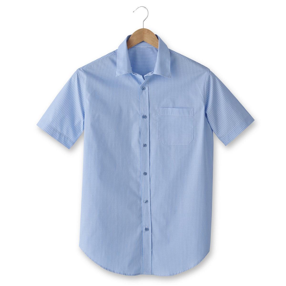 Рубашка из поплина с короткими рукавами, рост 3Рост 3 (при росте от 187 см) :- длина рубашки спереди : 87 см для размера 41/42 и 96 см для размера 59/60.- длина рукавов : 24 см для размера 41/42 и 28,5 см для размера 59/60.Данная модель представлена также для роста 1 и 2 (при росте до 187 см) и с длинными рукавами.<br><br>Цвет: синий в полоску<br>Размер: 41/42.53/54