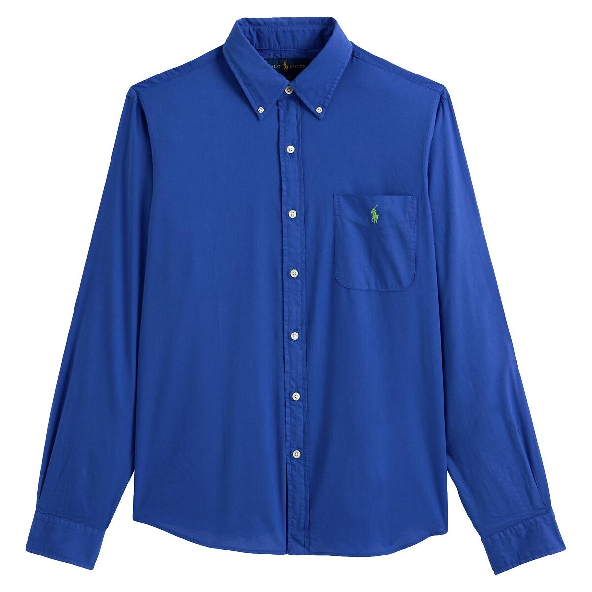 Рубашка LaRedoute Прямого покроя из ткани оксфорд с 1 нагрудным карманом M синий