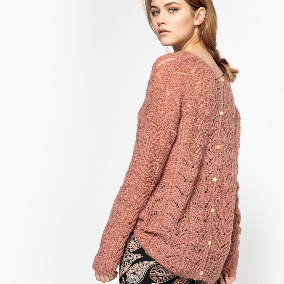 Пуловер ажурный с застежкой на пуговицы сзади, из шерсти