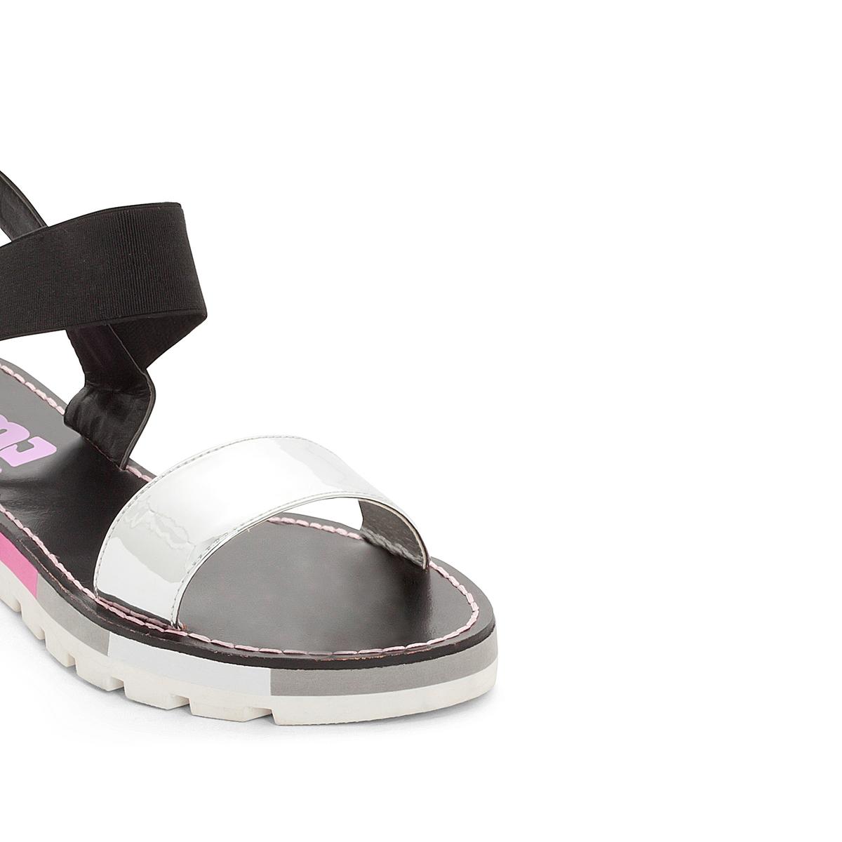 Босоножки MadagascarВерх/Голенище : синтетика  Подкладка : синтетика  Стелька : синтетика  Подошва : каучук   Форма каблука : плоский каблук  Мысок : закругленный мысок  Застежка : без застежки<br><br>Цвет: черный/ розовый,черный/ серебристый<br>Размер: 40.40.38.38