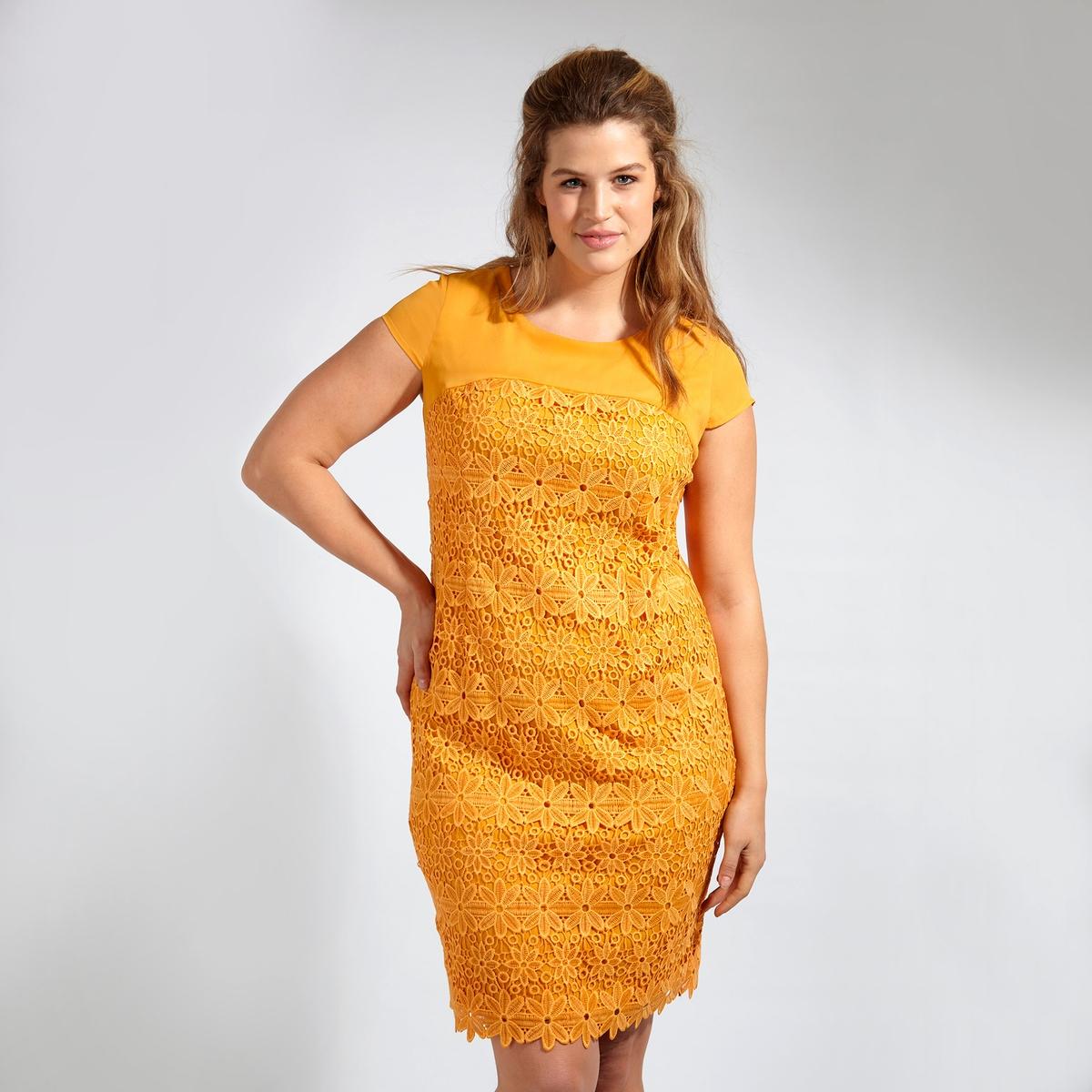 ПлатьеПлатье с короткими рукавами KOKO BY KOKO. Красивое платье из кружева . Круглый вырез. 100% полиэстер<br><br>Цвет: горчичный<br>Размер: 44 (FR) - 50 (RUS)