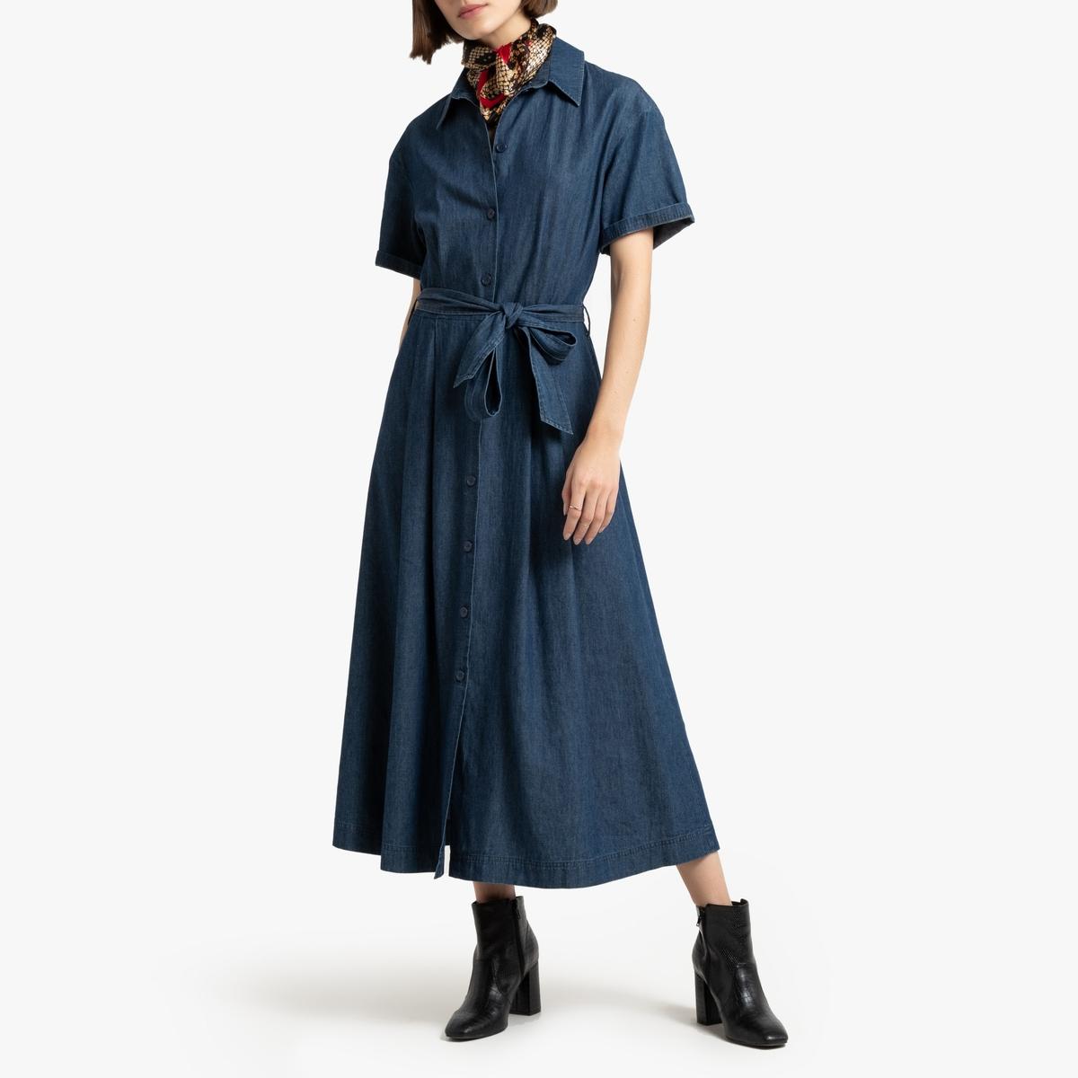 цена Платье-рубашка La Redoute Длинное из денима 34 (FR) - 40 (RUS) синий онлайн в 2017 году
