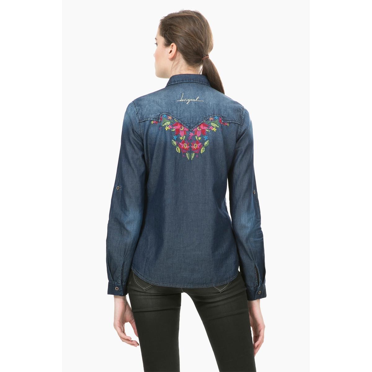 Рубашка из денима с длинными рукавами и принтом, Cam LilithСостав и описаниеМарка : DESIGUALМодель : Cam LilithМатериал : 100% хлопок<br><br>Цвет: светлый деним