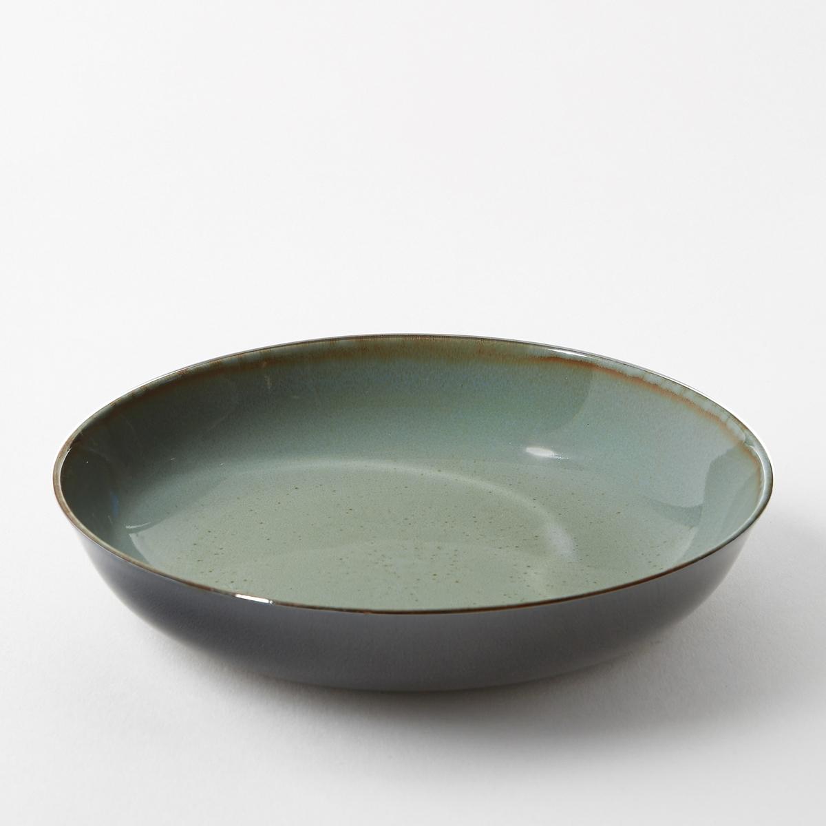 Тарелка глубокая из керамики, диаметр 21 см, BanokaГлубокая тарелка из керамики, покрытой глазурью, Banoka придаст Вашему интерьеру ярких цветов и перенесет Ваших гостей в мечту. Размеры  : диаметр 21 x высота 4 см.<br><br>Цвет: серо-синий<br>Размер: единый размер