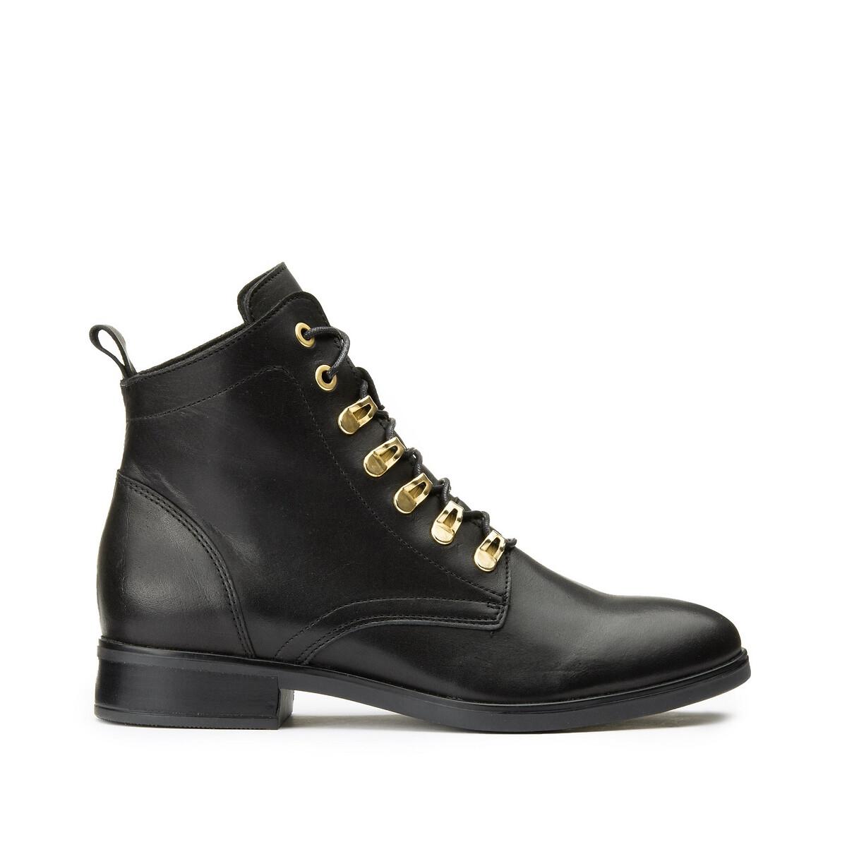 Ботинки LaRedoute Кожаные на шнуровке 42 черный кеды laredoute кожаные на шнуровке v10 40 белый