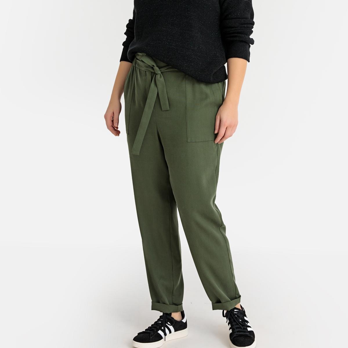 Брюки La Redoute Широкие из лиоцелла с высокой талией 48 (FR) - 54 (RUS) зеленый брюки la redoute с высокой талией из лиоцелла 38 fr 44 rus бежевый