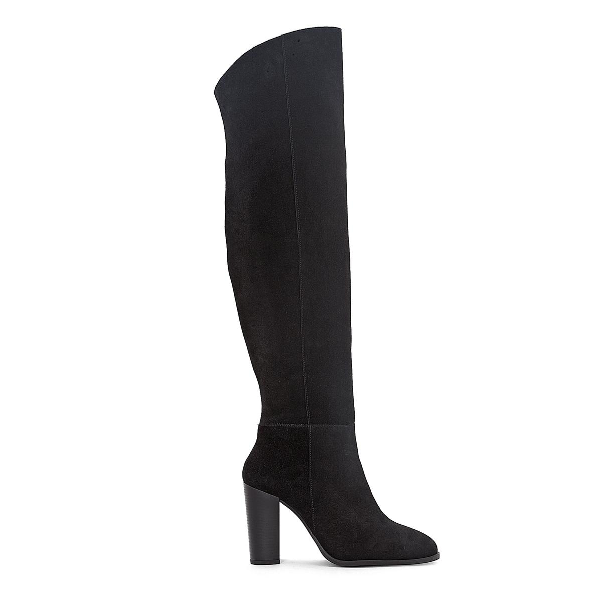 Сапоги-ботфорты кожаные на высоком каблуке