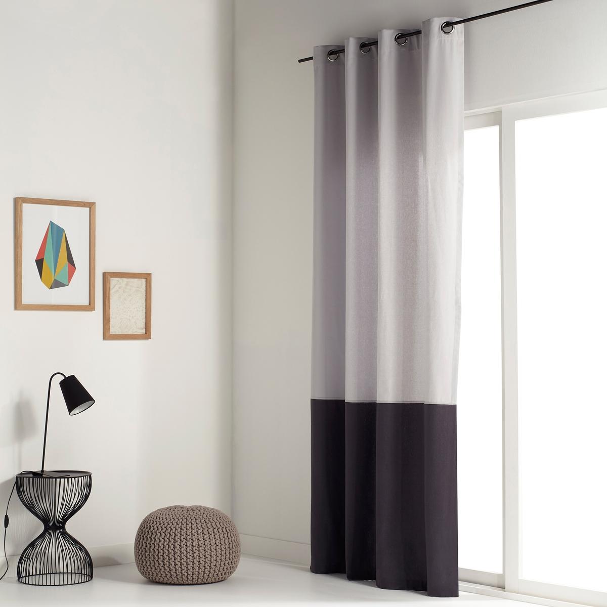 Штора La Redoute Двухцветная из хлопка AGURI 180 x 140 см серый штора с люверсами 100% хлопок aron