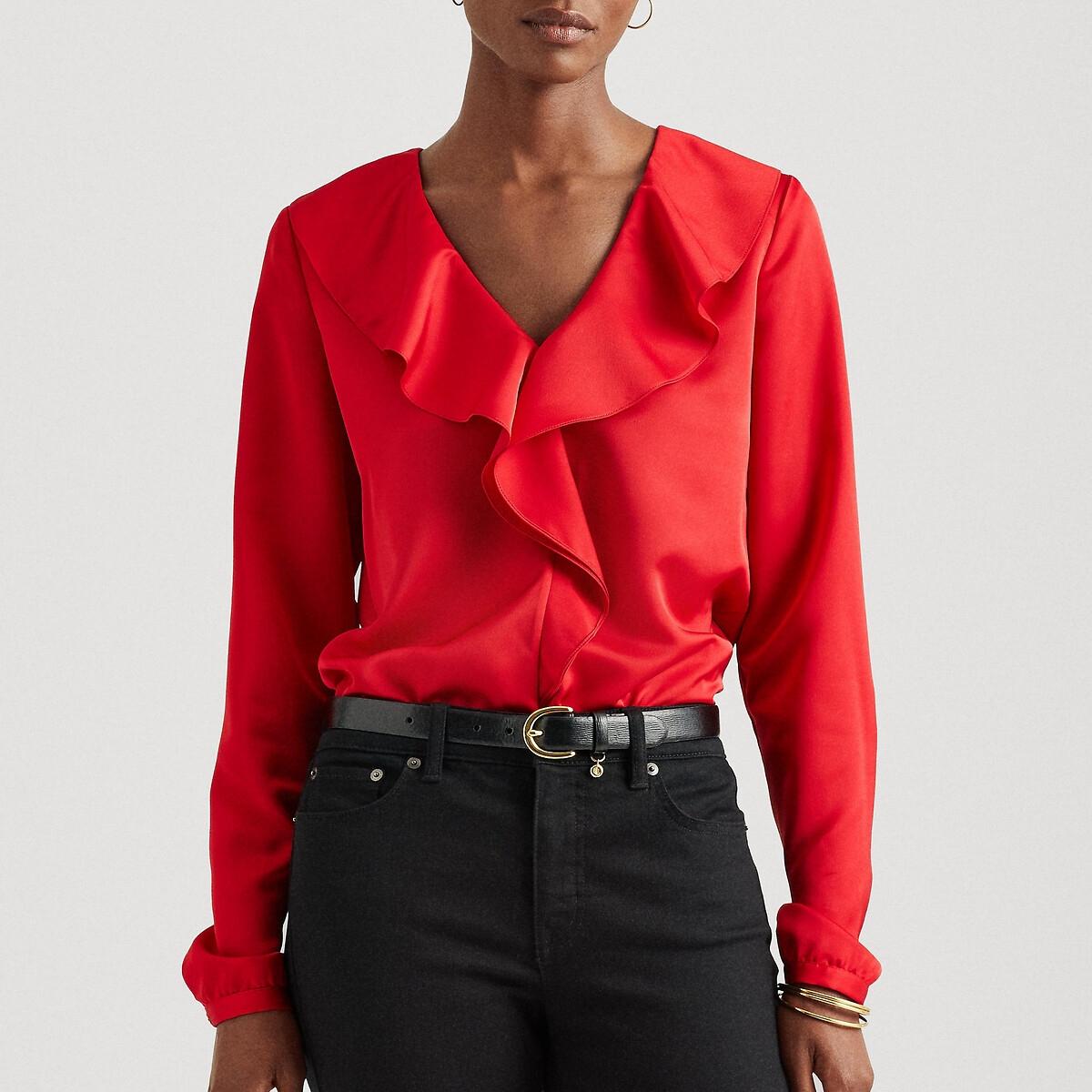 Блузка LaRedoute С v-образным вырезом и воланом длинные рукава 40 (FR) - 46 (RUS) красный рубашка laredoute с v образным вырезом и длинными рукавами 46 fr 52 rus бежевый