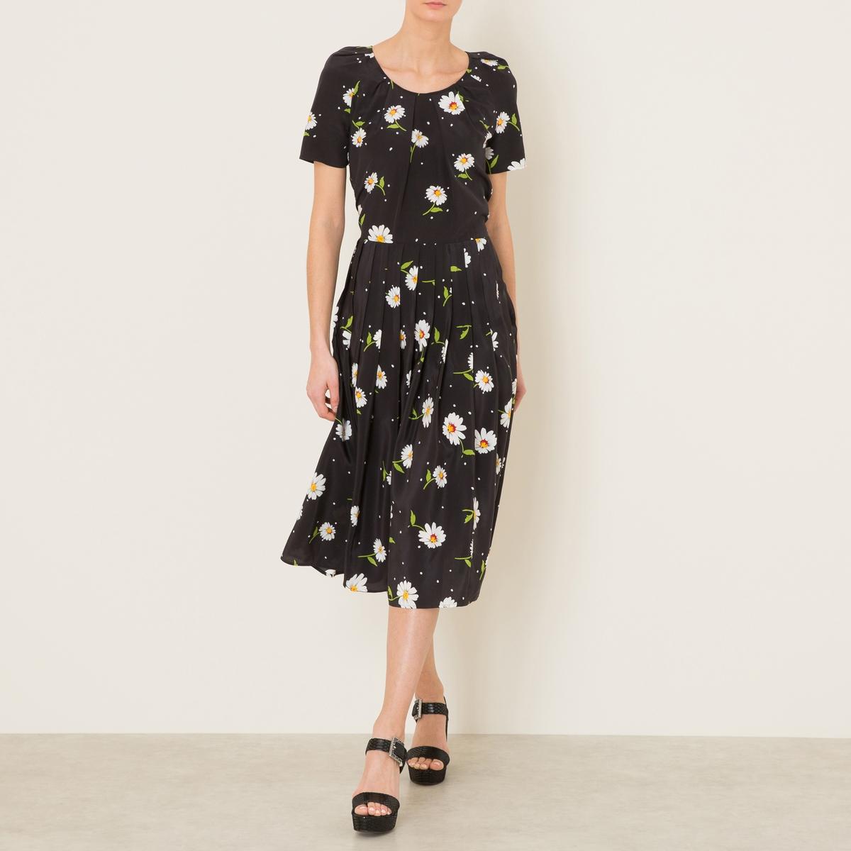 Платье шелковое с рисункомСостав и описание Материал : 100% шелкДлина : ок.127 см. для размера 36Марка : THE KOOPLES<br><br>Цвет: рисунок черный