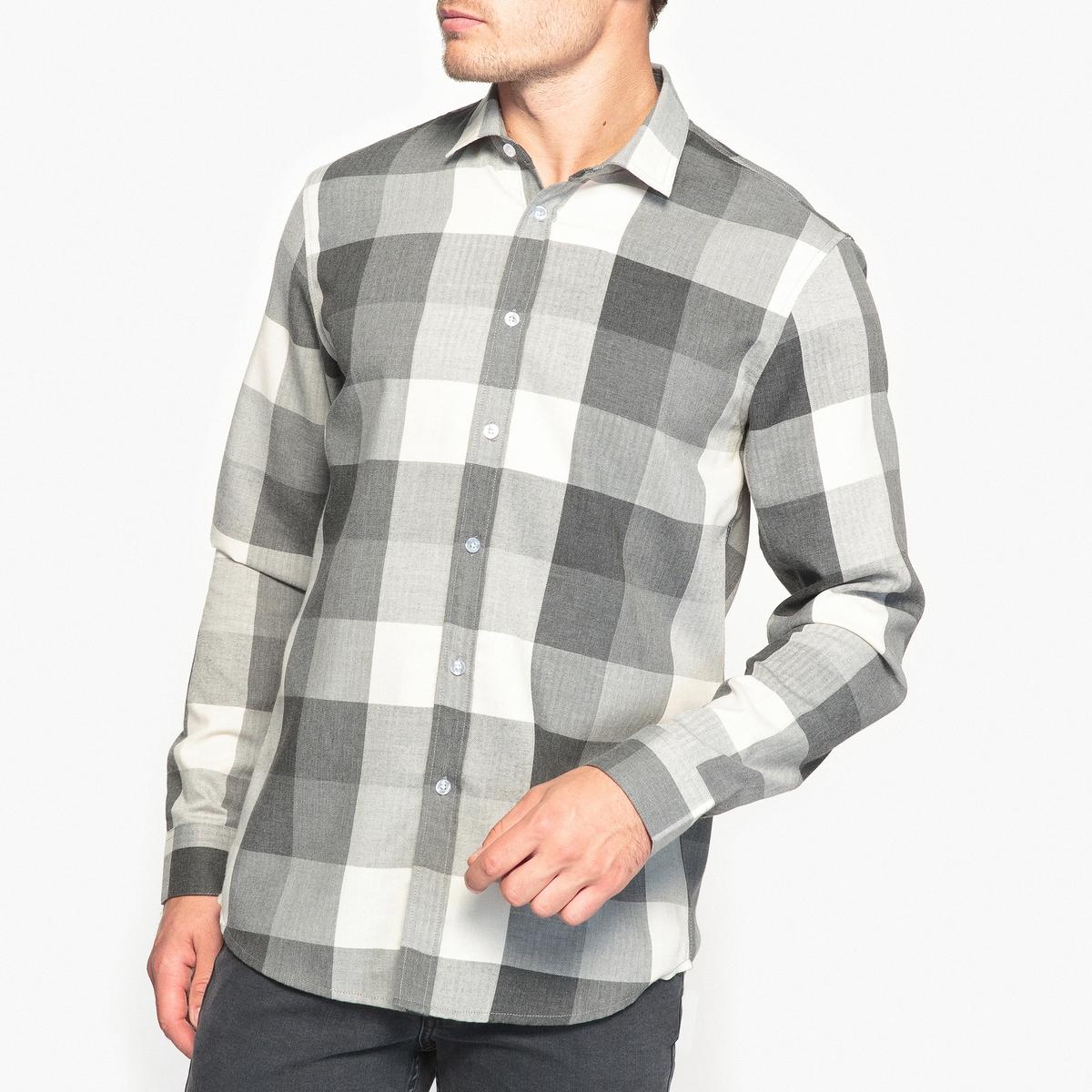Рубашка прямая в клетку рубашка прямая большого размера в клетку