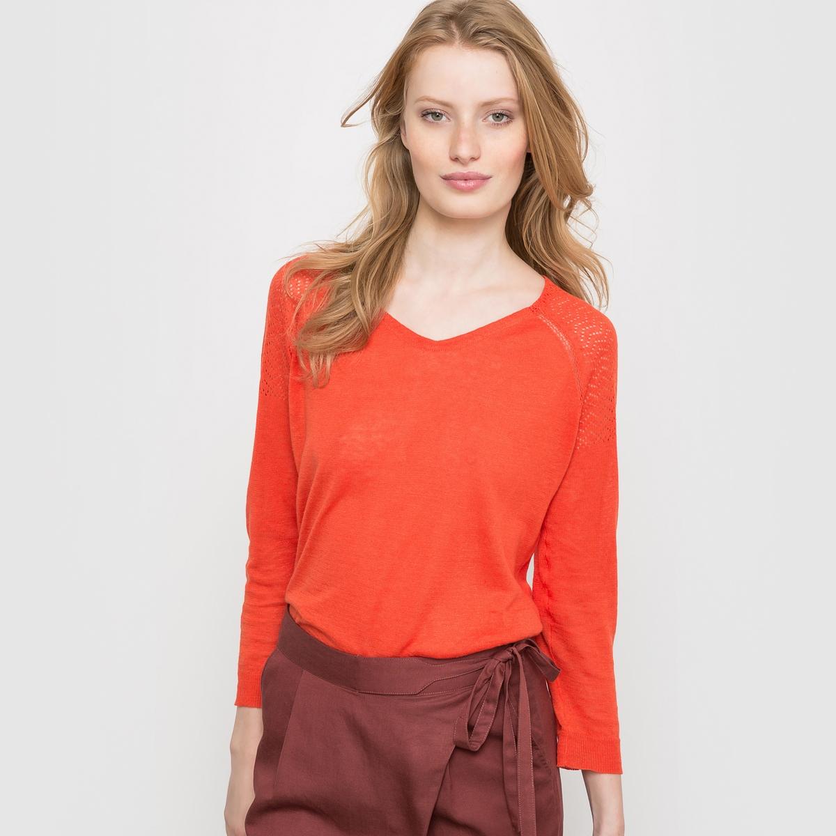 Пуловер с V-образным вырезом из льна и вискозыОчень женственный пуловер, красивый материал, 55% льна, ажурные вставки на плечах, застежка на пуговицы сзади.<br><br>Цвет: оранжевый,розовый/фиолетовый<br>Размер: 38/40 (FR) - 44/46 (RUS).34/36 (FR) - 40/42 (RUS).42/44 (FR) - 48/50 (RUS)