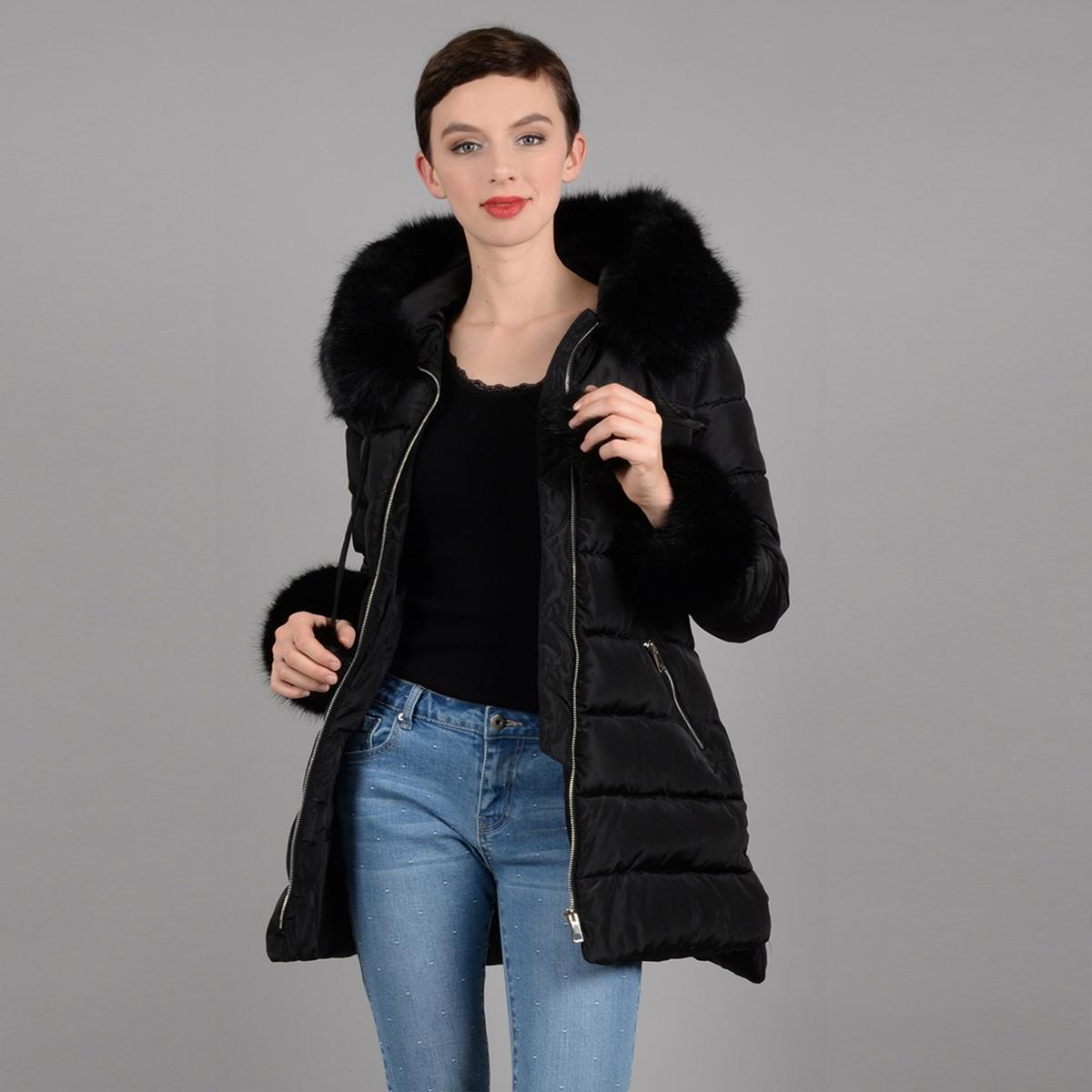 Куртка средней длины с застежкой на молнию, демисезонная модель