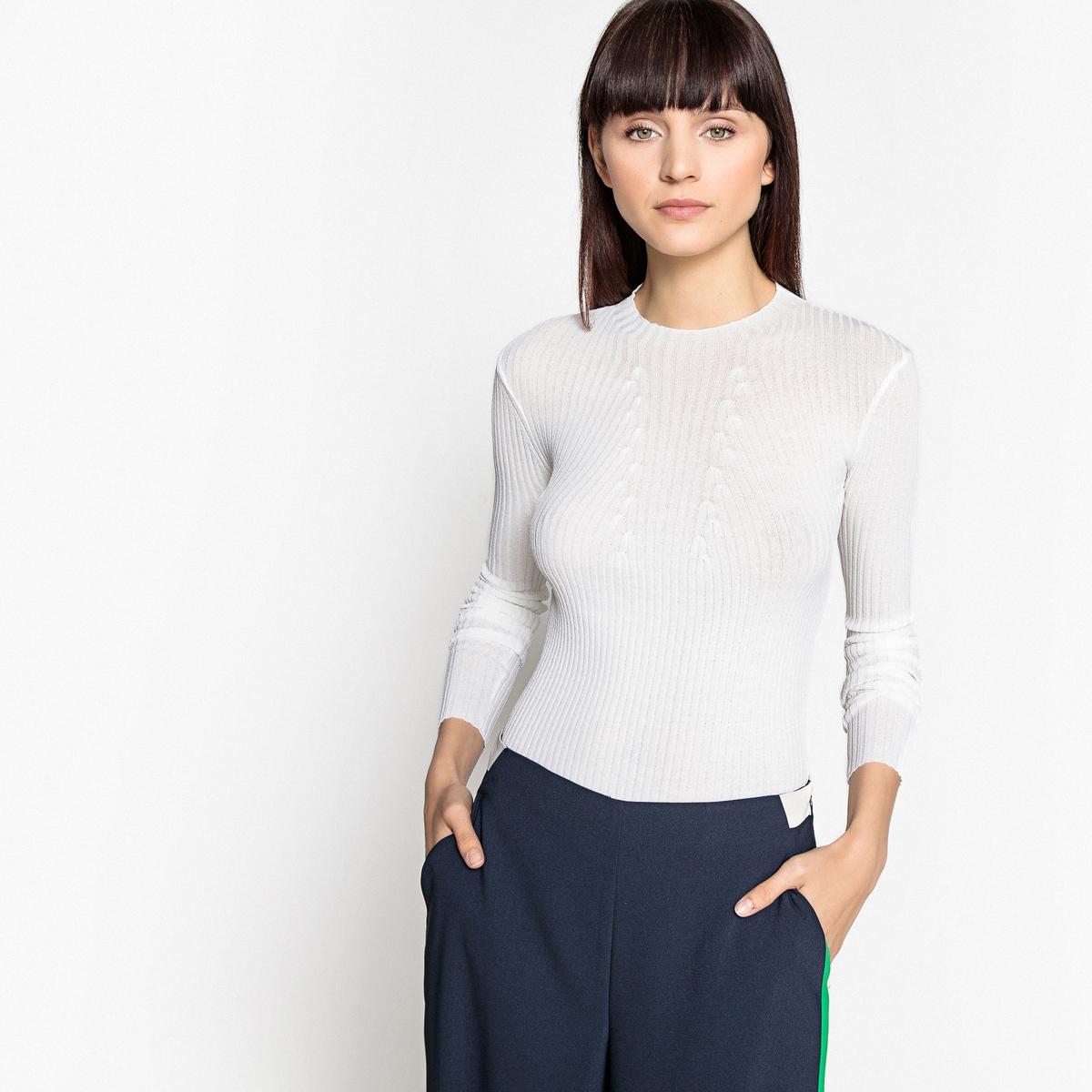 Пуловер с круглым вырезом из тонкого трикотажа в рубчик
