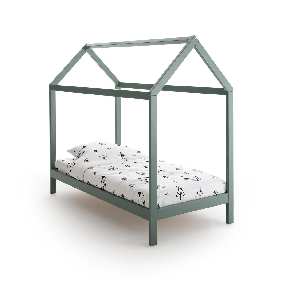 Кровать-шатер LaRedoute Из массива сосны Archi 90 x 190 см зеленый кровать laredoute с ящиком отделениями для вещей и кроватным основанием yann 90 x 190 см белый