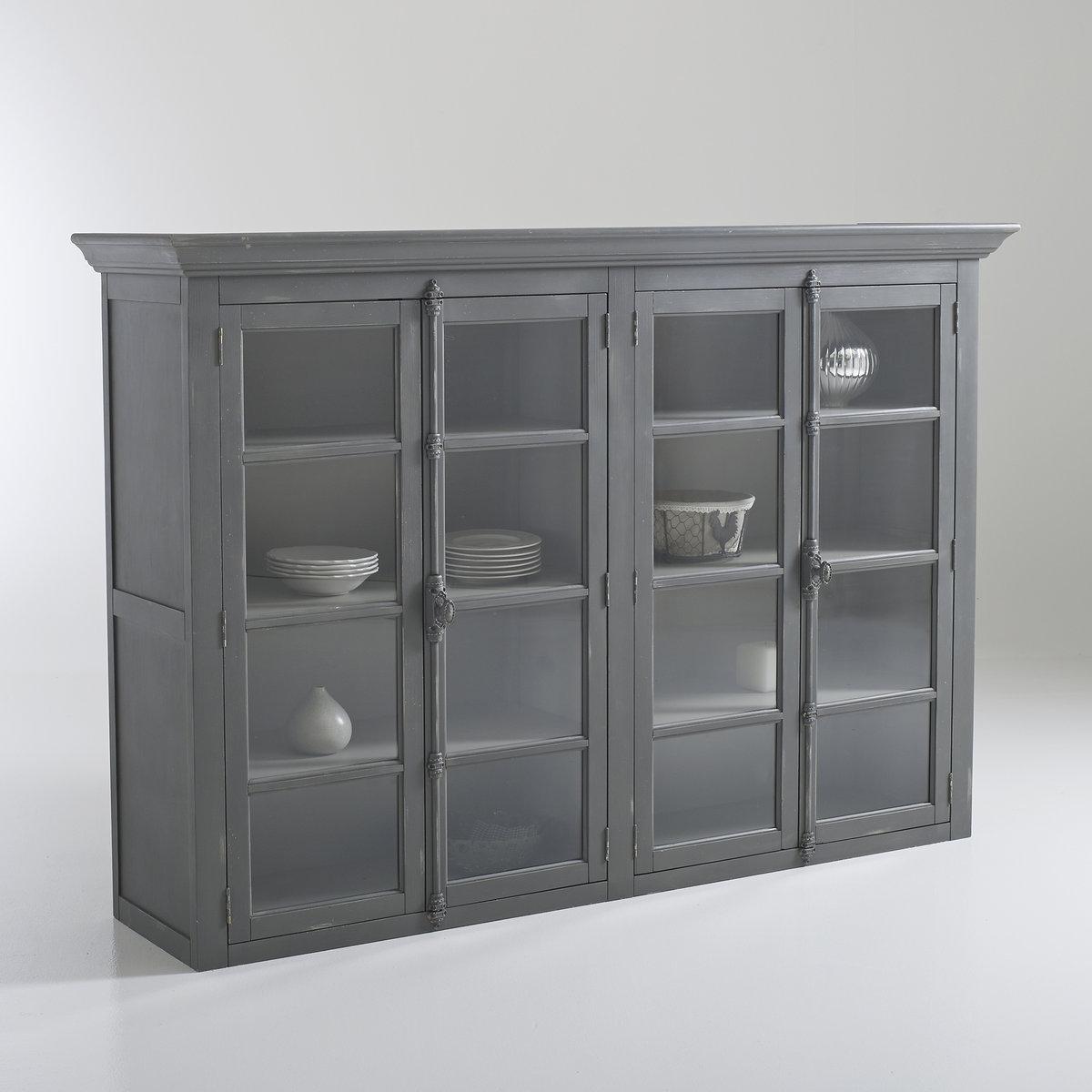 Шкаф LaRedoute Посудный 4-дверный с патиной Eulali единый размер серый
