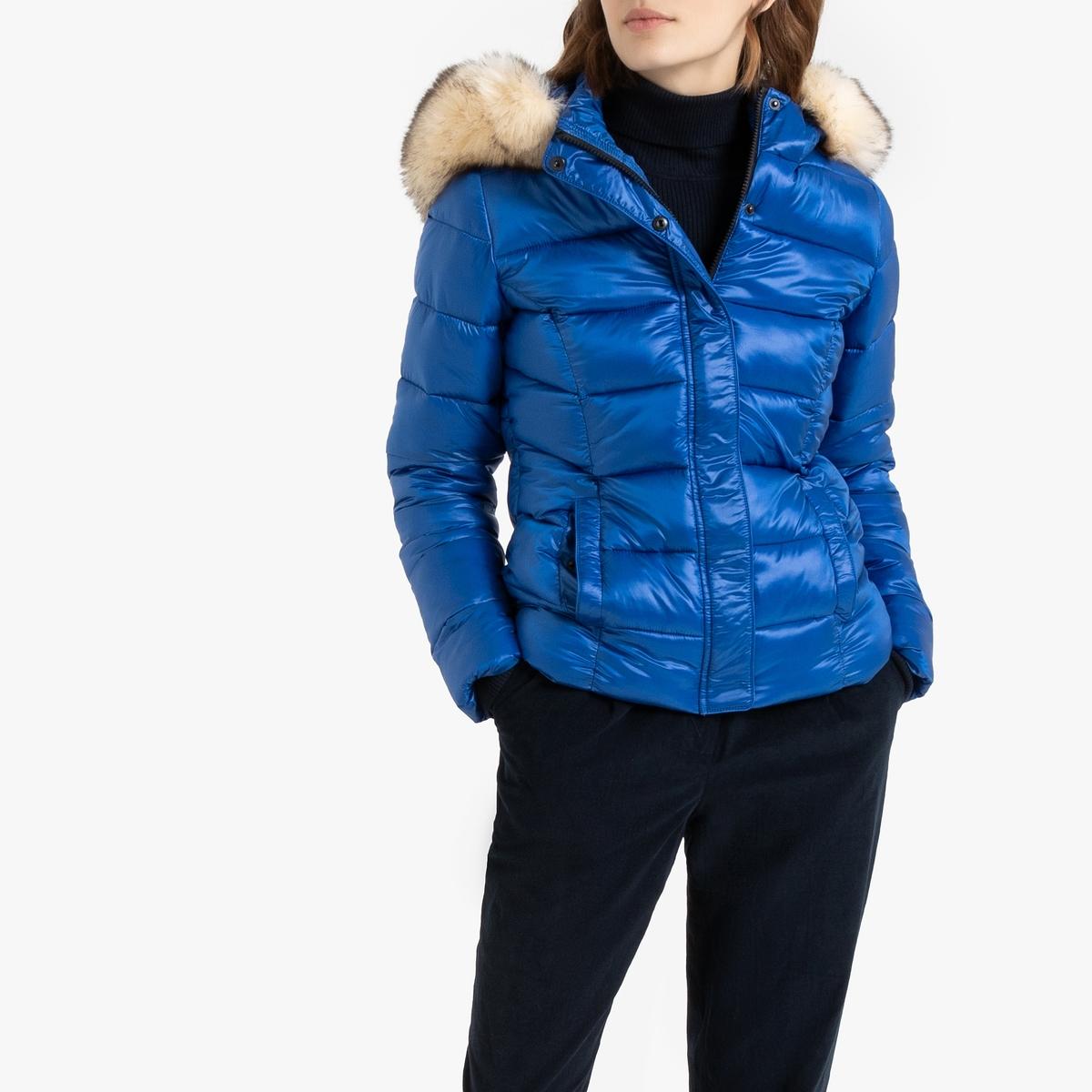 Куртка La Redoute Стеганая короткая с капюшоном оторочкой из искусственного меха L синий