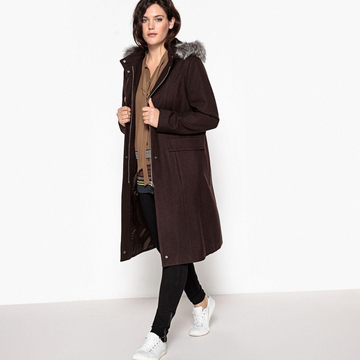 Manteau à capuche avec fausse fourrure