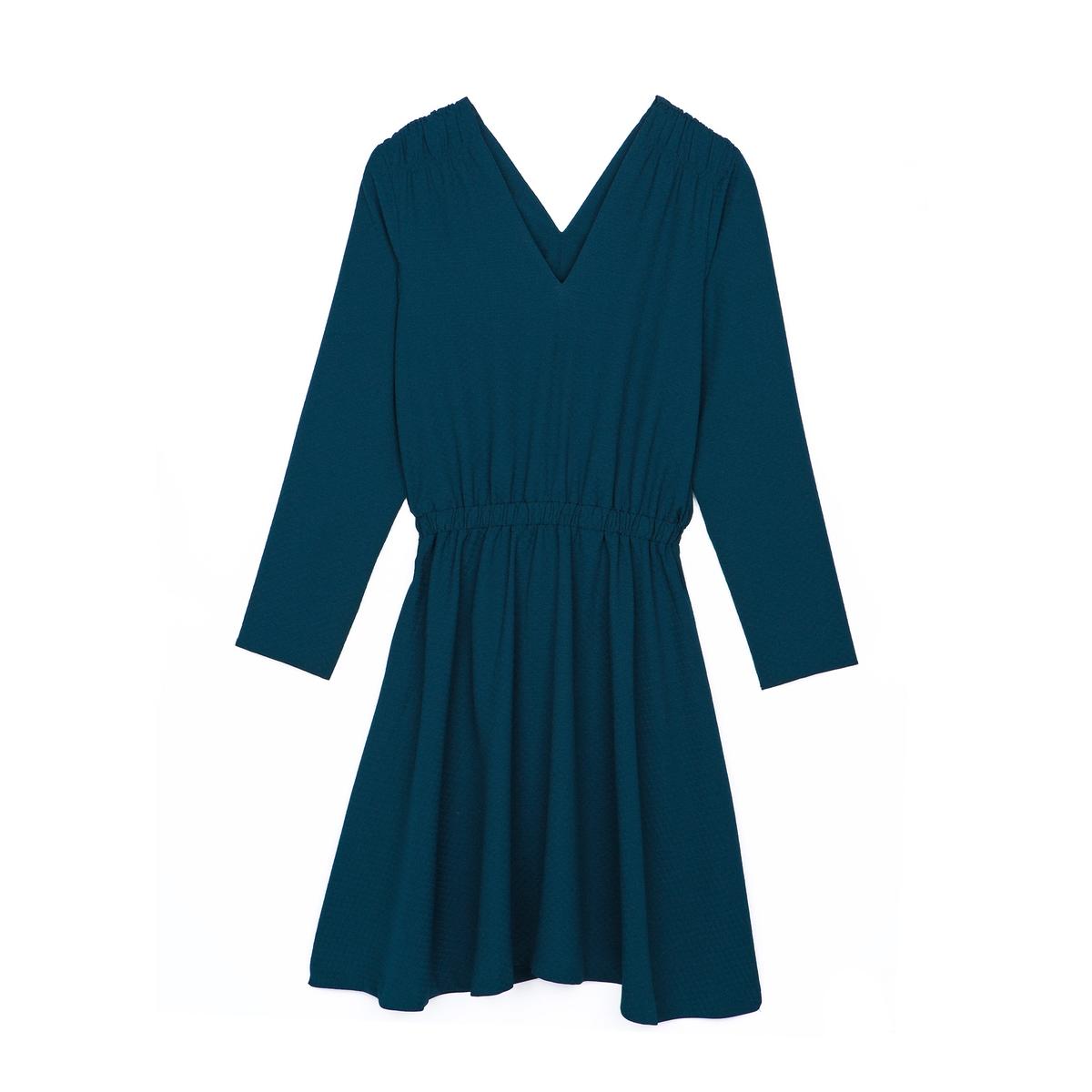Платье с V-образным декольте и длинным рукавомПлатье с длинным рукавом RIVER RIVER от KARL MARC JOHN. V-образные декольте спереди и сзади. Эластичный пояс.Состав и описаниеМарка : KARL MARC JOHNМатериал :  100% полиэстер<br><br>Цвет: сине-зеленый<br>Размер: M